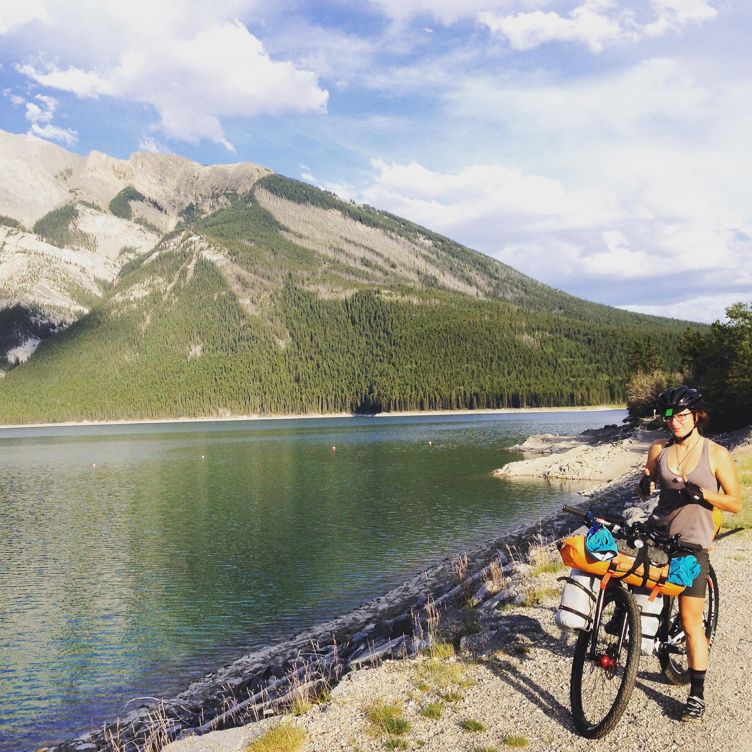 Getting ready to roll around Lake Minnewanka, near Banff