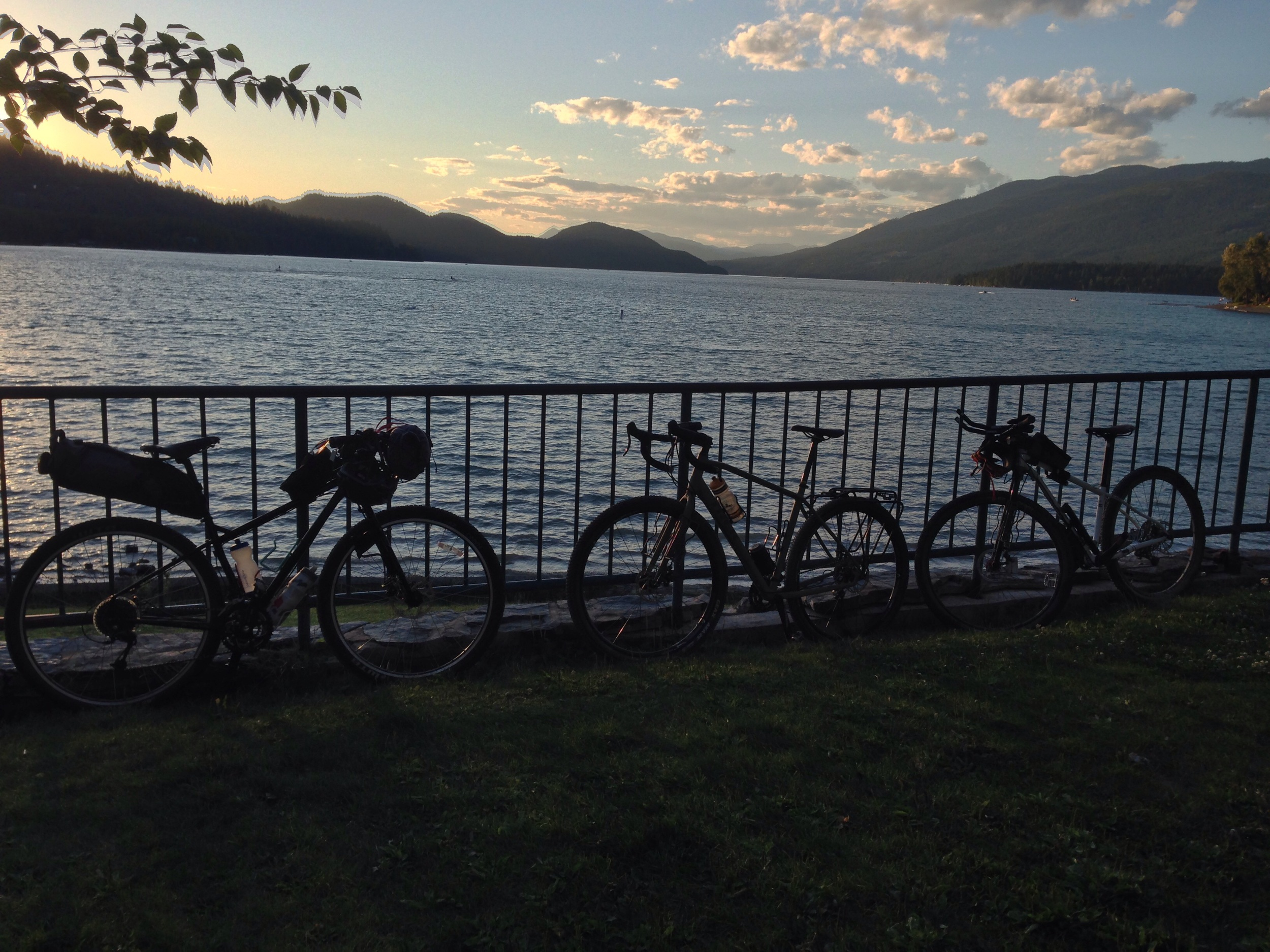 Bikes stand waiting while we sipped beers by Whitefish lake