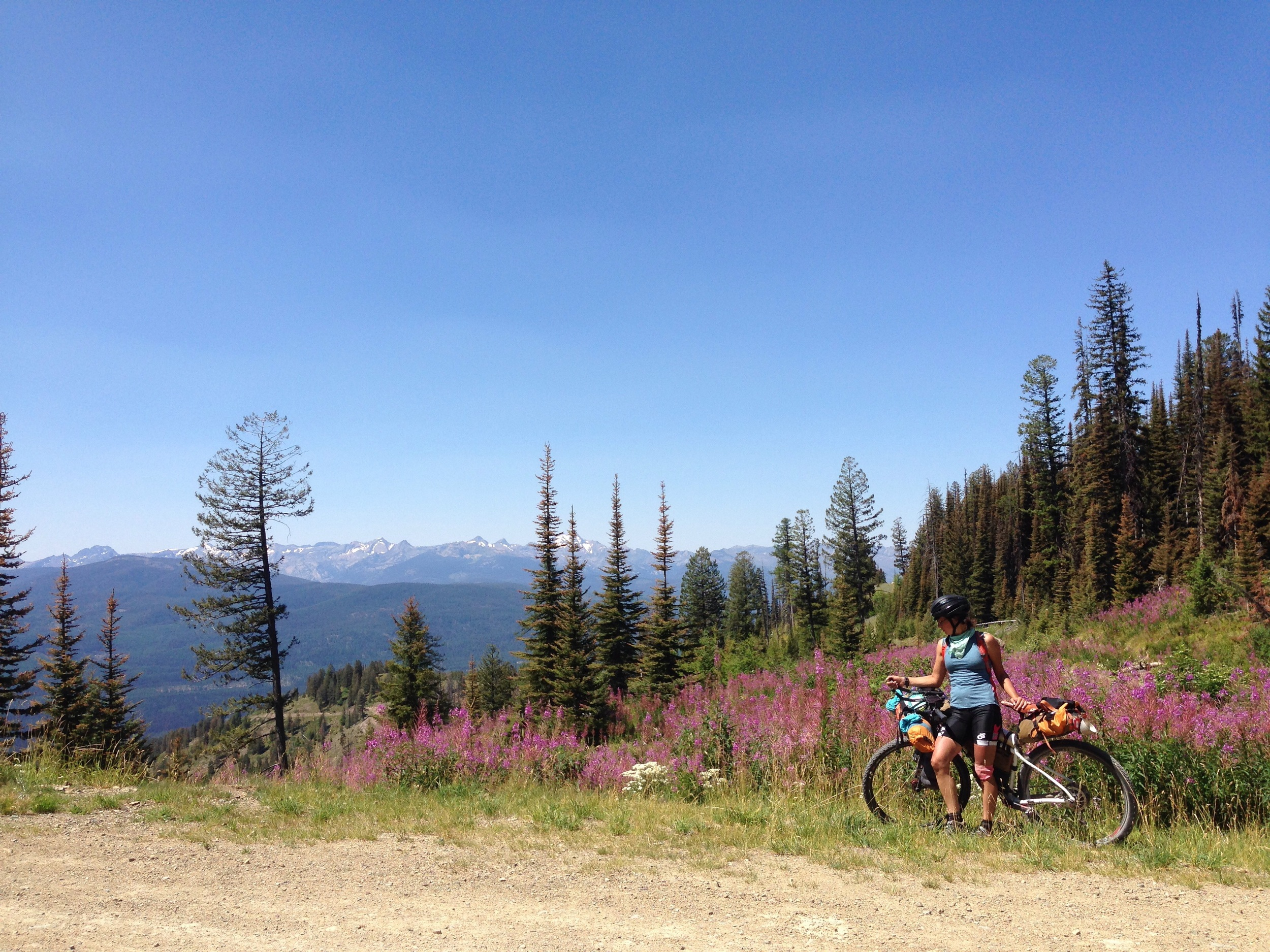 At the top of a pass right before Seely Lake