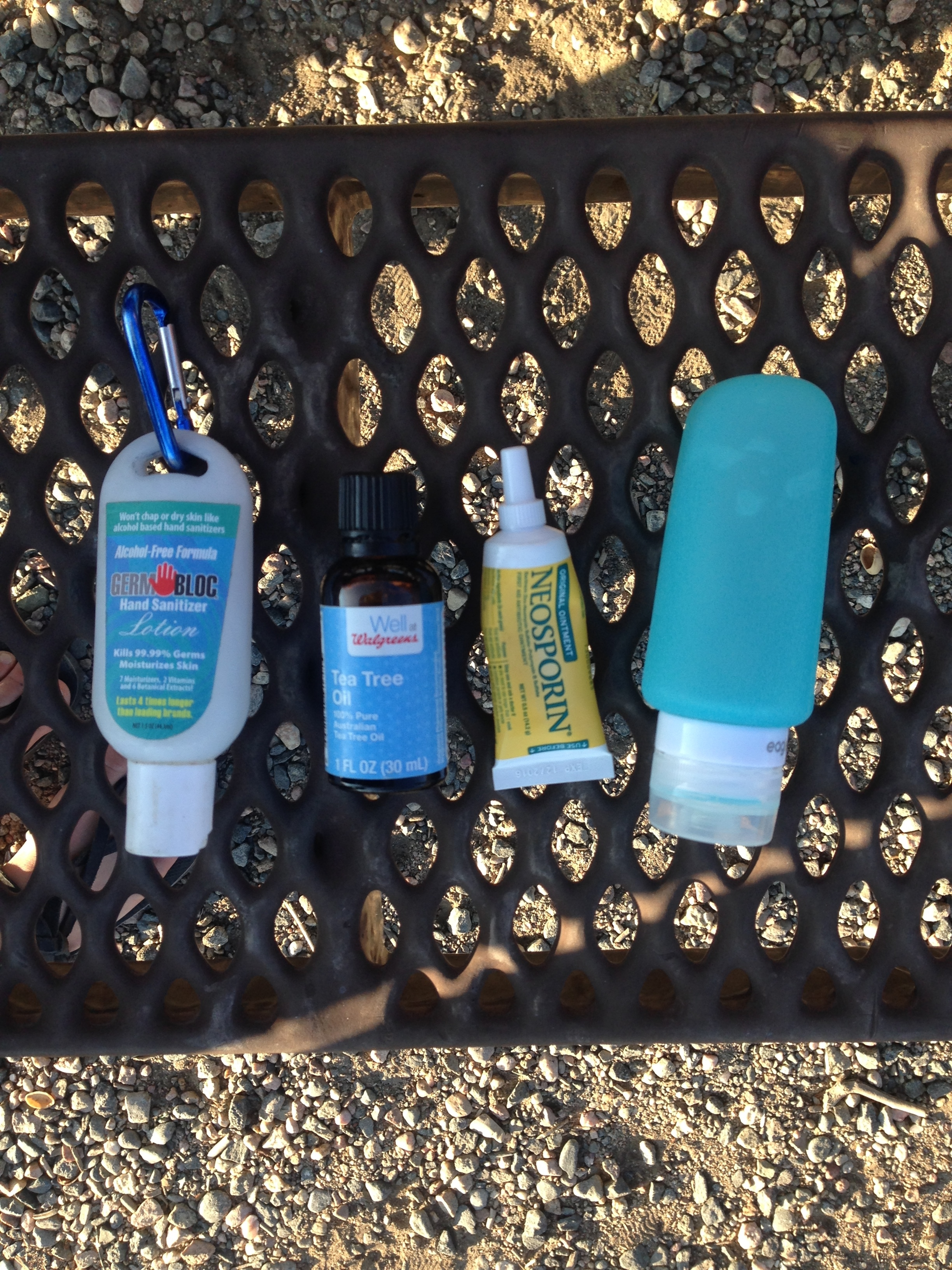 Alcohol based hand sanitizer works for other parts of the body in a pinch, tea tree oil and neosporine are good for saddle sores, and Dr. Bronner's (shown here in a soft bottle) is a good, mild, soap for cleaning yourself and your clothes.