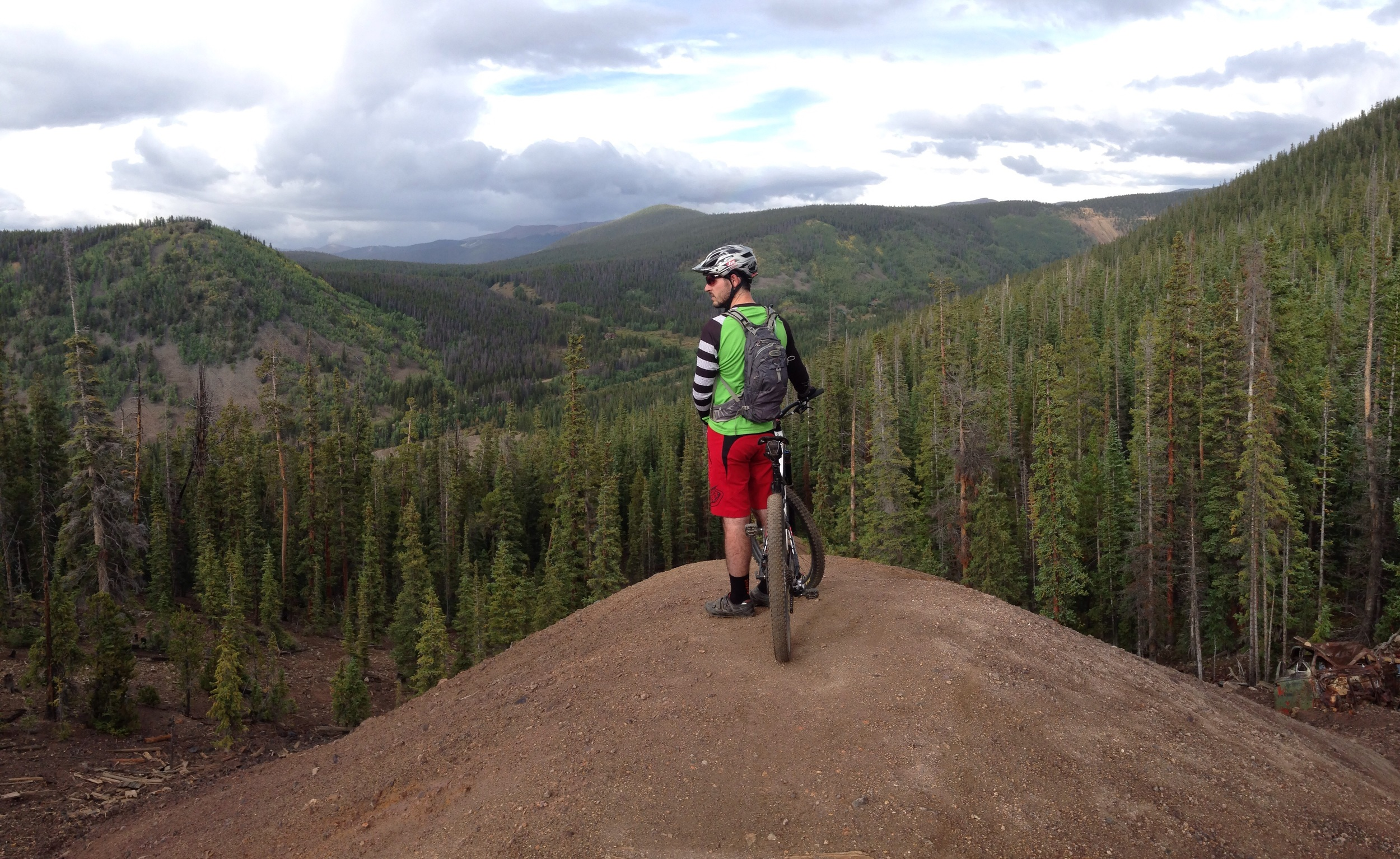 """Rode some singletrack around Breckenridge with a friend. I believe his words were, """"just follow my line"""". Needless to say, I almost did but ended up just peered over the edge... this time."""