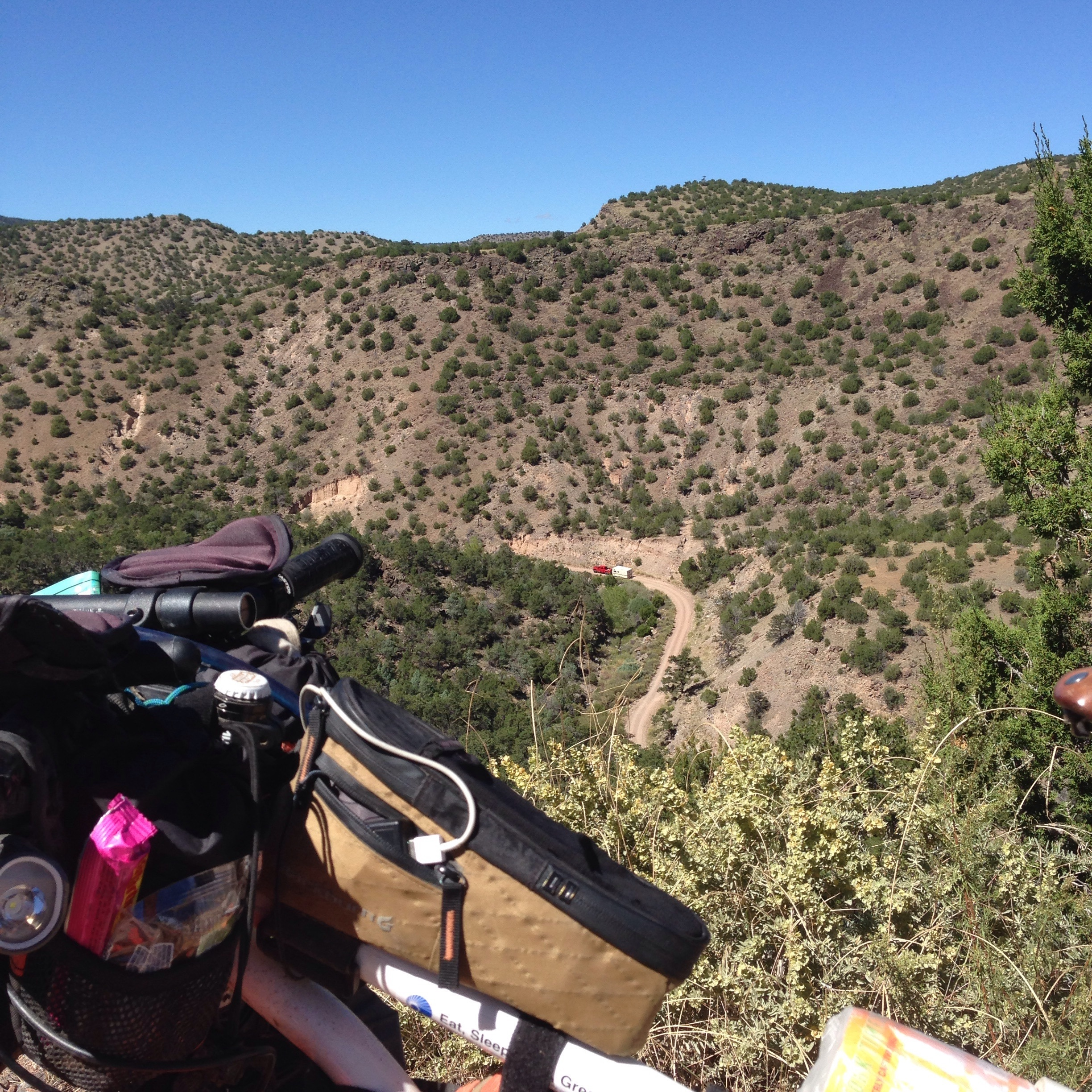 You can see the road from which I came... Part of the climb out of Abiquiu.