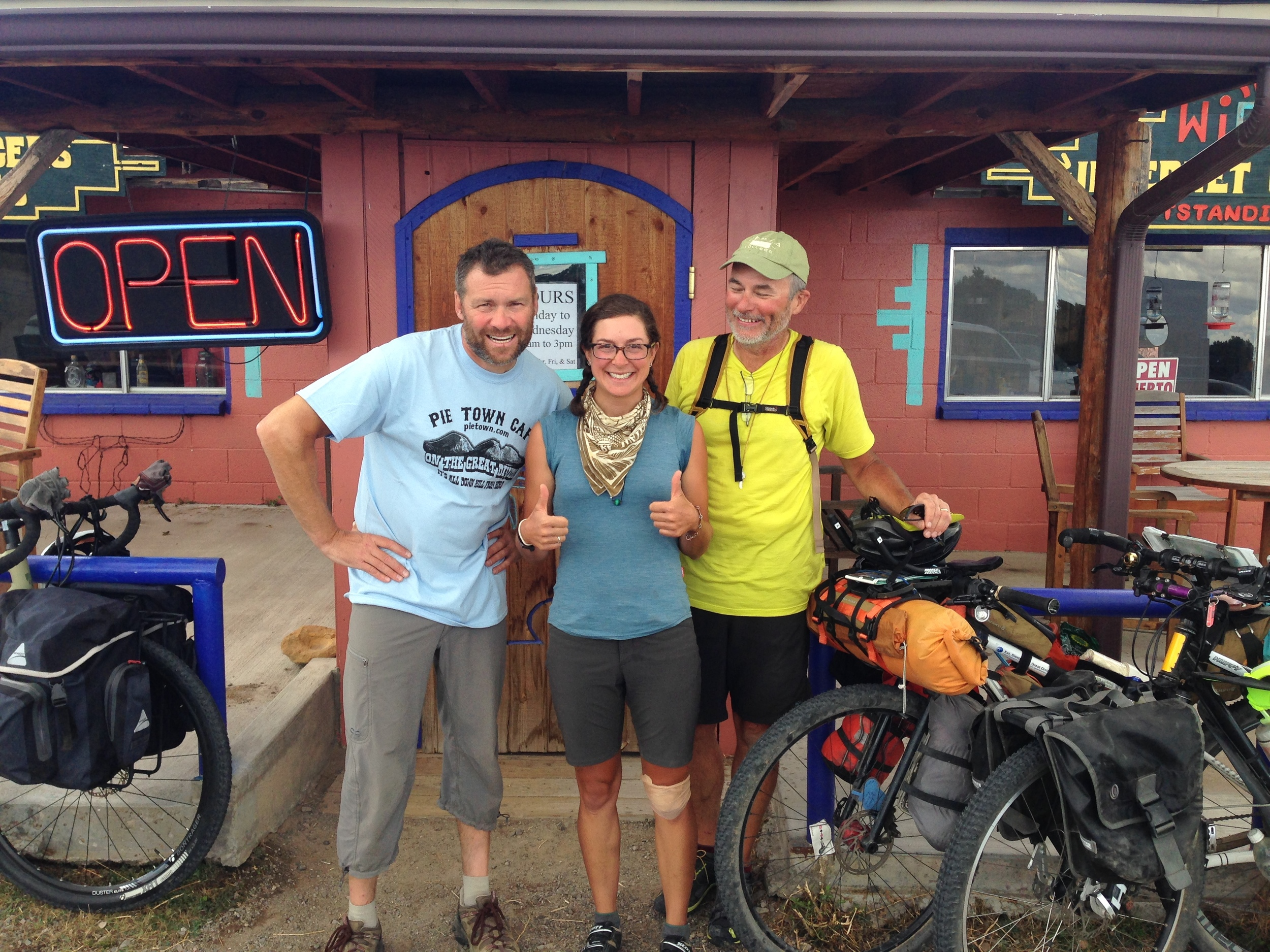 "Becoming friends with strangers on the trail is all part of the experience. ""Team Hi-Vis""... two of my favorite trail pals. Here all smiles having just eaten pie at Pie Town."