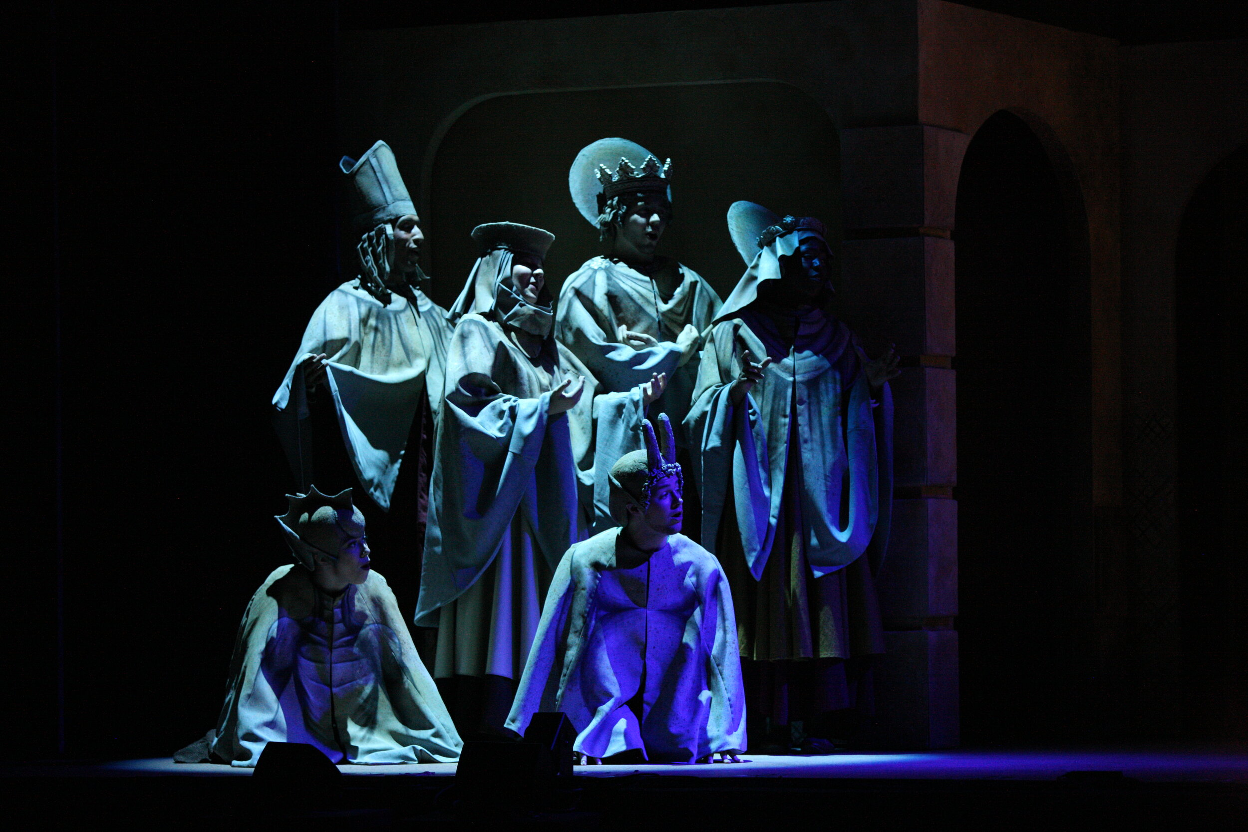 Statues and Gargoyles- The Hunchback of Notre Dame- Music Theatre Wichita 2017  Costume Design by George T. Mitchell. All other designs by the seasonal staff of MTW. Photos courtesy of Christopher Clark and Jerry Fritchman.