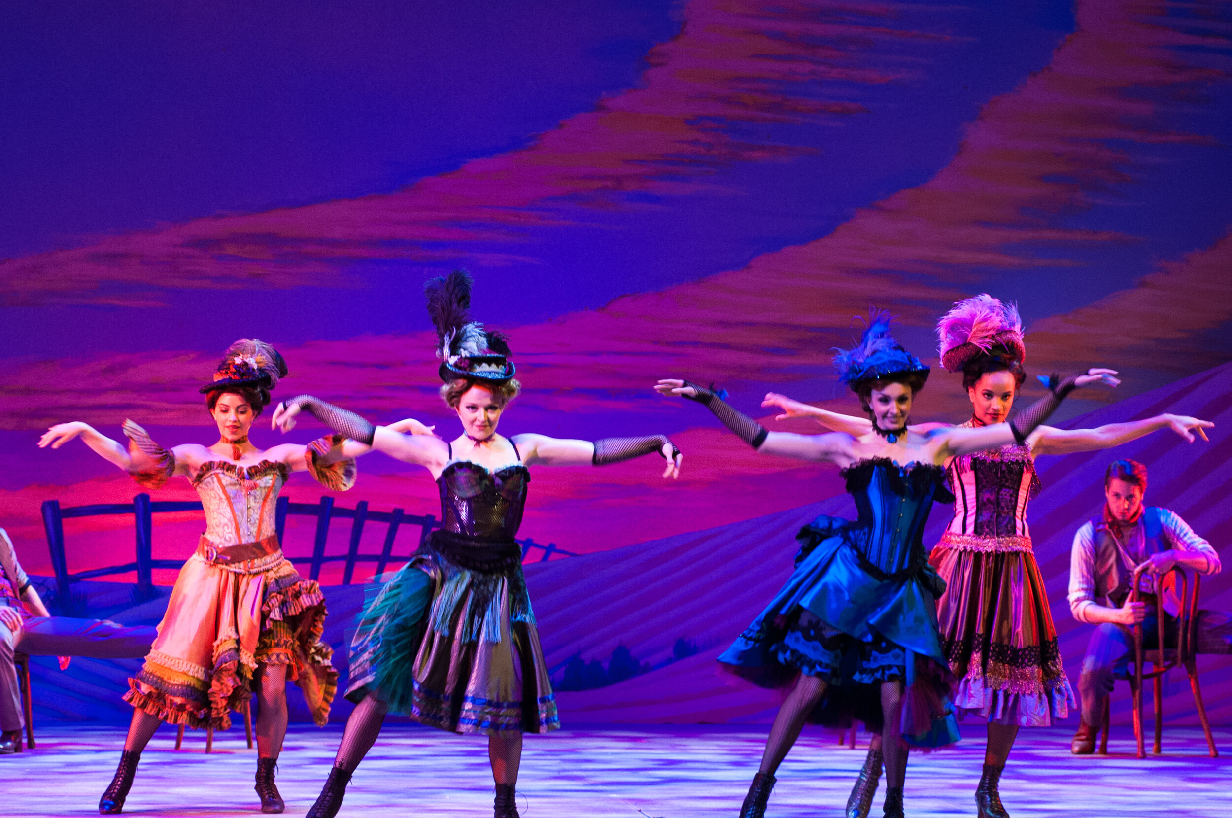 Dream Ballet Saloon Girl Hats- Oklahoma!- Music Theatre Wichita 2016  Costume Design by Debbie Roberts. All designs by the seasonal staff of MTW. Photos courtesy of Christopher Clark and Jerry Fritchman.