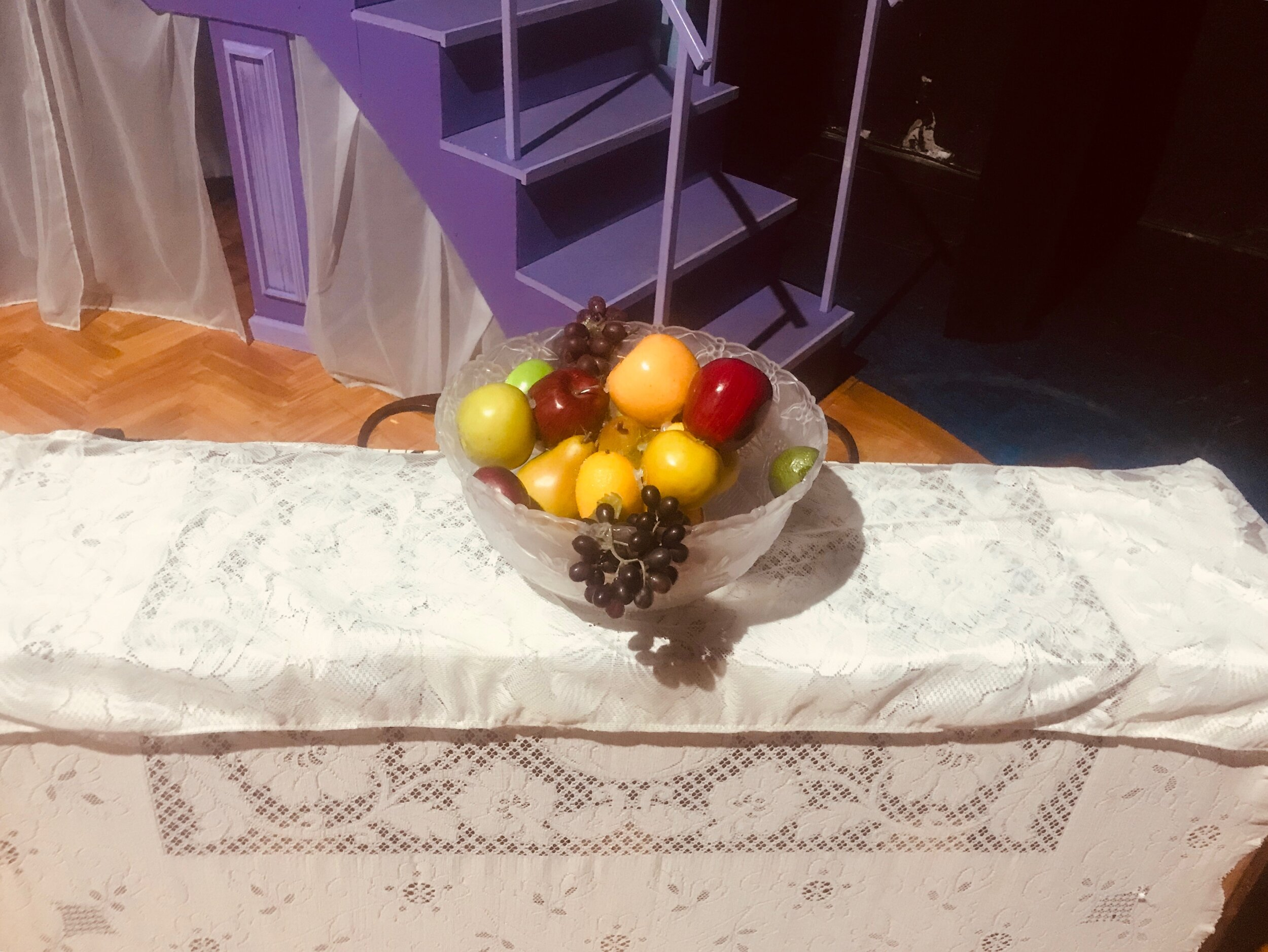 Miss Anne de Bourgh's Fruit Bowl- Pride and Prejudice- Creede Repertory Theatre 2019  Costume Design by Amy Sutton. All designs by the seasonal staff of CRT. Photos courtesy of John Gary Brown.