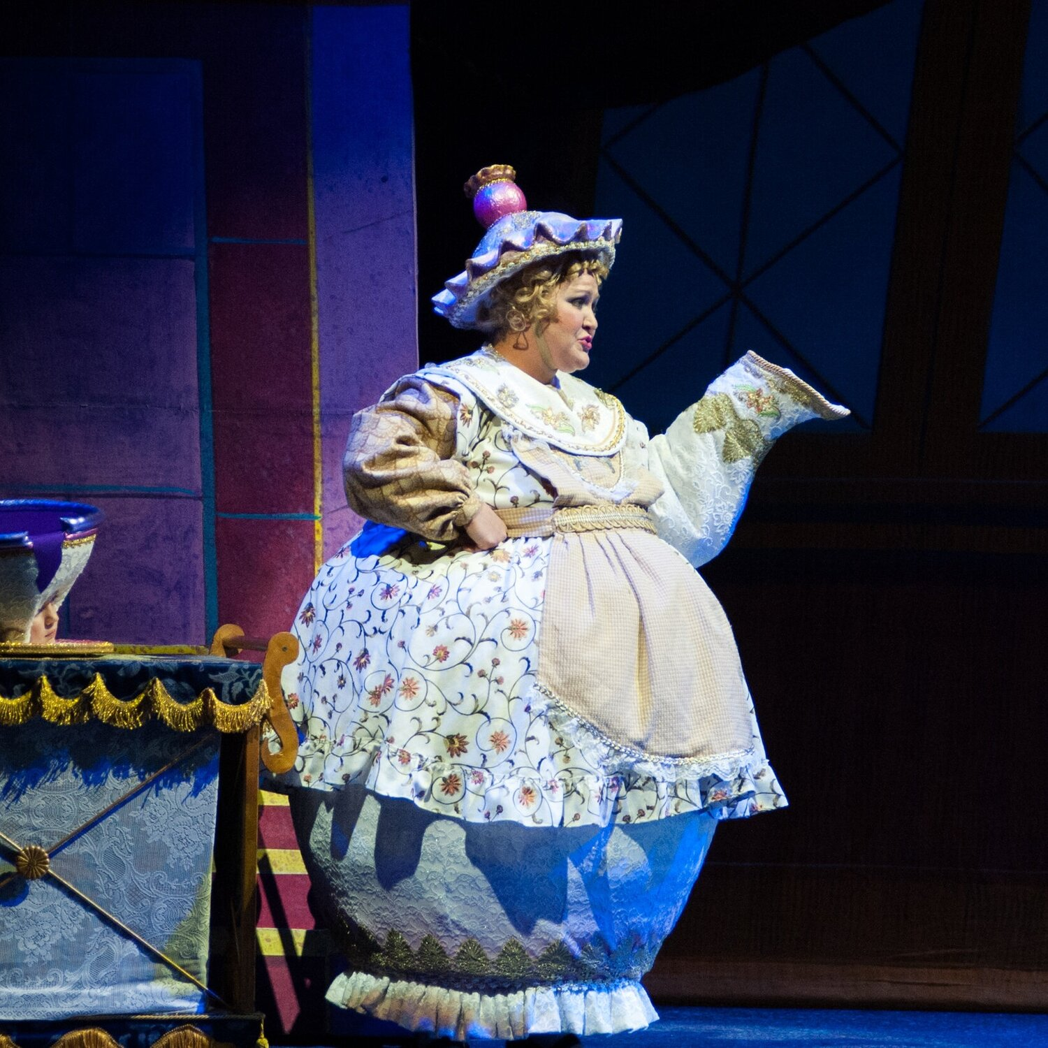 Mrs. Pott's HardHat- Beauty and the Beast- Music Theatre Wichita 2016  Costume Design by Tiia Torchia Lager. All designs by the seasonal staff of MTW. Photos courtesy of Christopher Clark and John Fritchman.