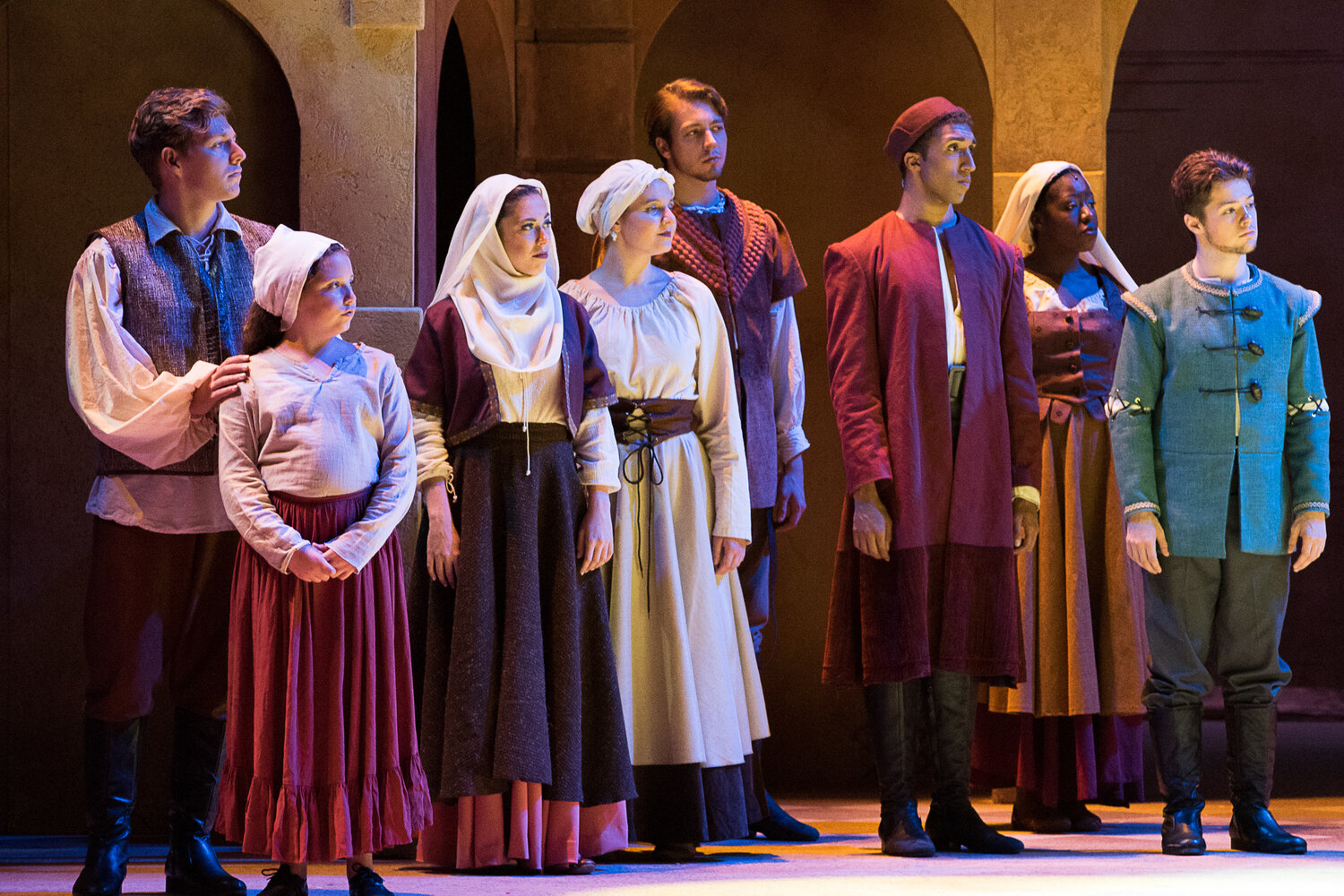 Townspeople's Headwear- Hunchback of Notre Dame- Music Theatre Wichita 2017  Costume Design by George T Mitchell. All designs by the seasonal staff of MTW. Photos courtesy of Christopher Clark and John Fritchman.