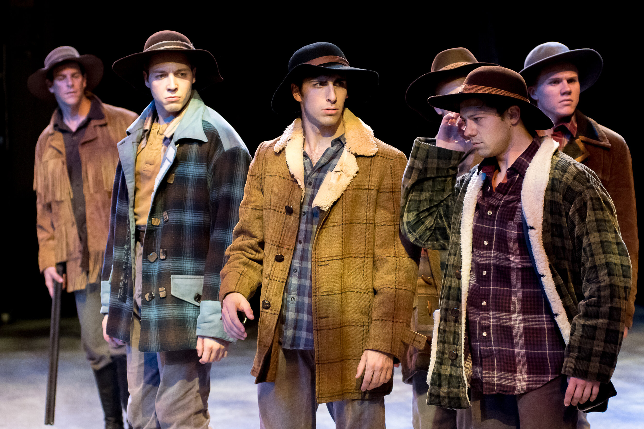 Brother's Hats- 7 Brides for 7 Brothers- Music Theatre Wichita 2017  Costume Design by Debbie Roberts. All designs by the seasonal staff of MTW. Photos courtesy of Christopher Clark and John Fritchman.