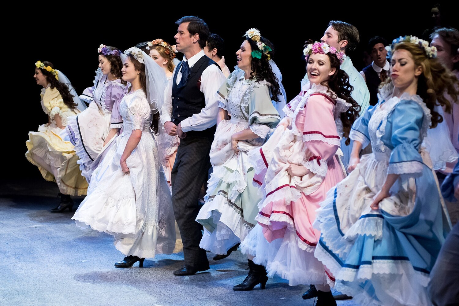 Wedding Veils- 7 Brides for 7 Brothers- Music Theatre Wichita 2017  Costume Design by Debbie Roberts. All designs by the seasonal staff of MTW. Photos courtesy of Christopher Clark and John Fritchman.