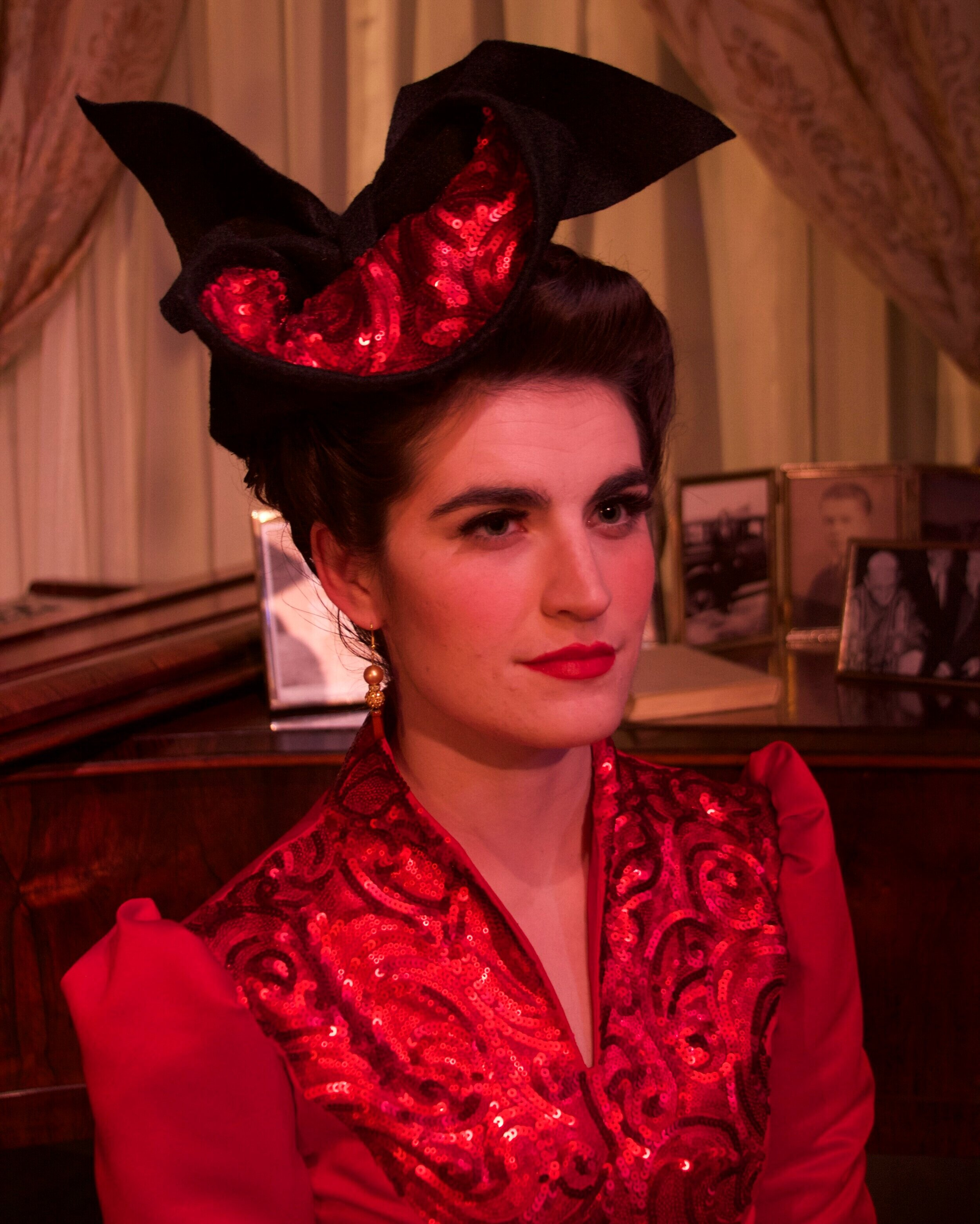 Lorraine's Hat- The Man Who Came To Dinner- University of Texas Arlington 2015  Costume Design by Laurie Land. All designs by the staff of UTA. Photo courtesy of Laurie Land.