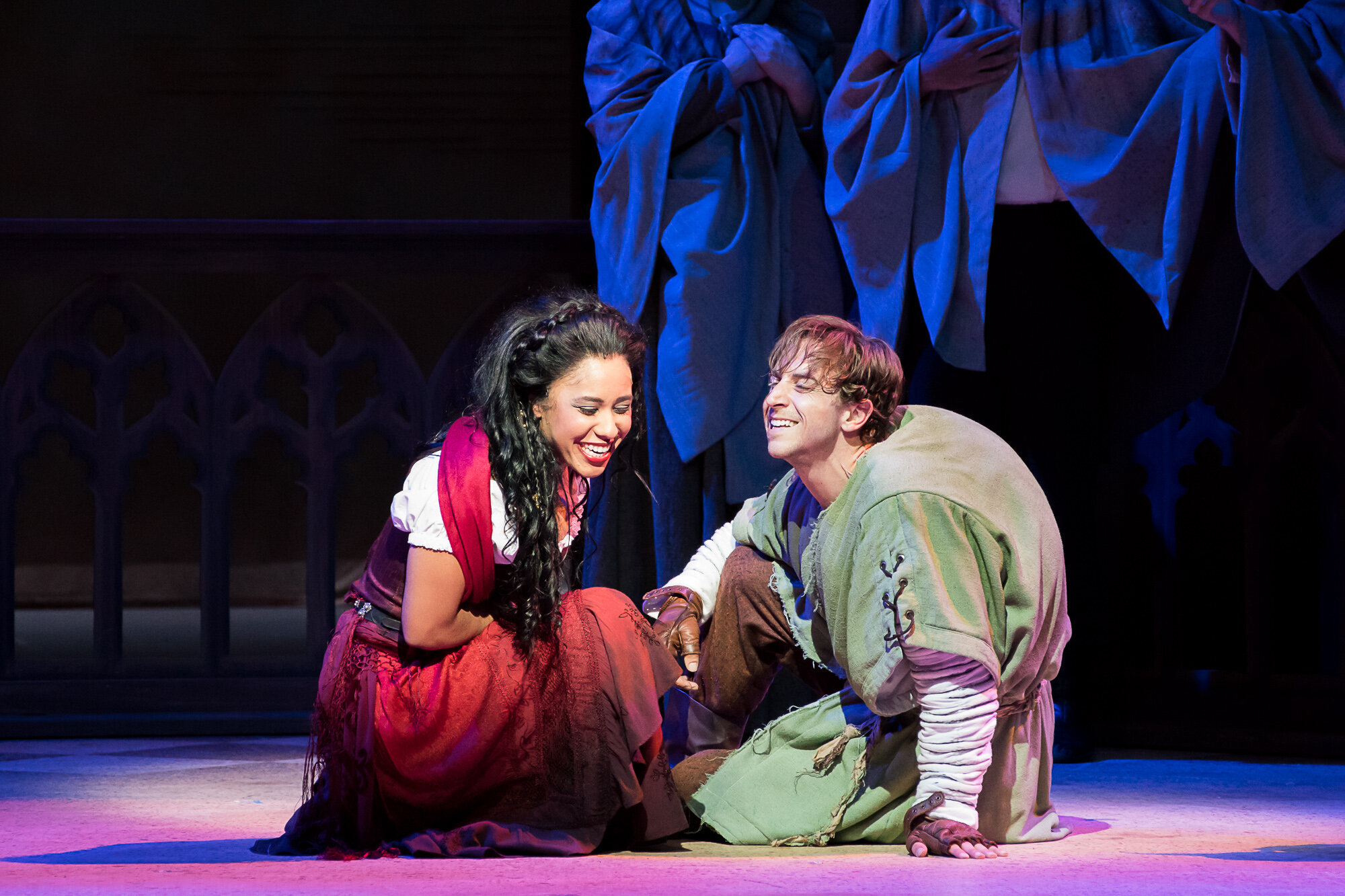 Esmerelda's Dance Skirt(Dyework) and Quasimodo's Tunic(dyework/painting)- The Hunchback of Notre Dame -Music Theatre Wichita 2017  Costume Design by George T Mitchell. All other designs by the summer staff of MTW. Photos Courtesy of Christopher Clark and Jerry Fritchman.