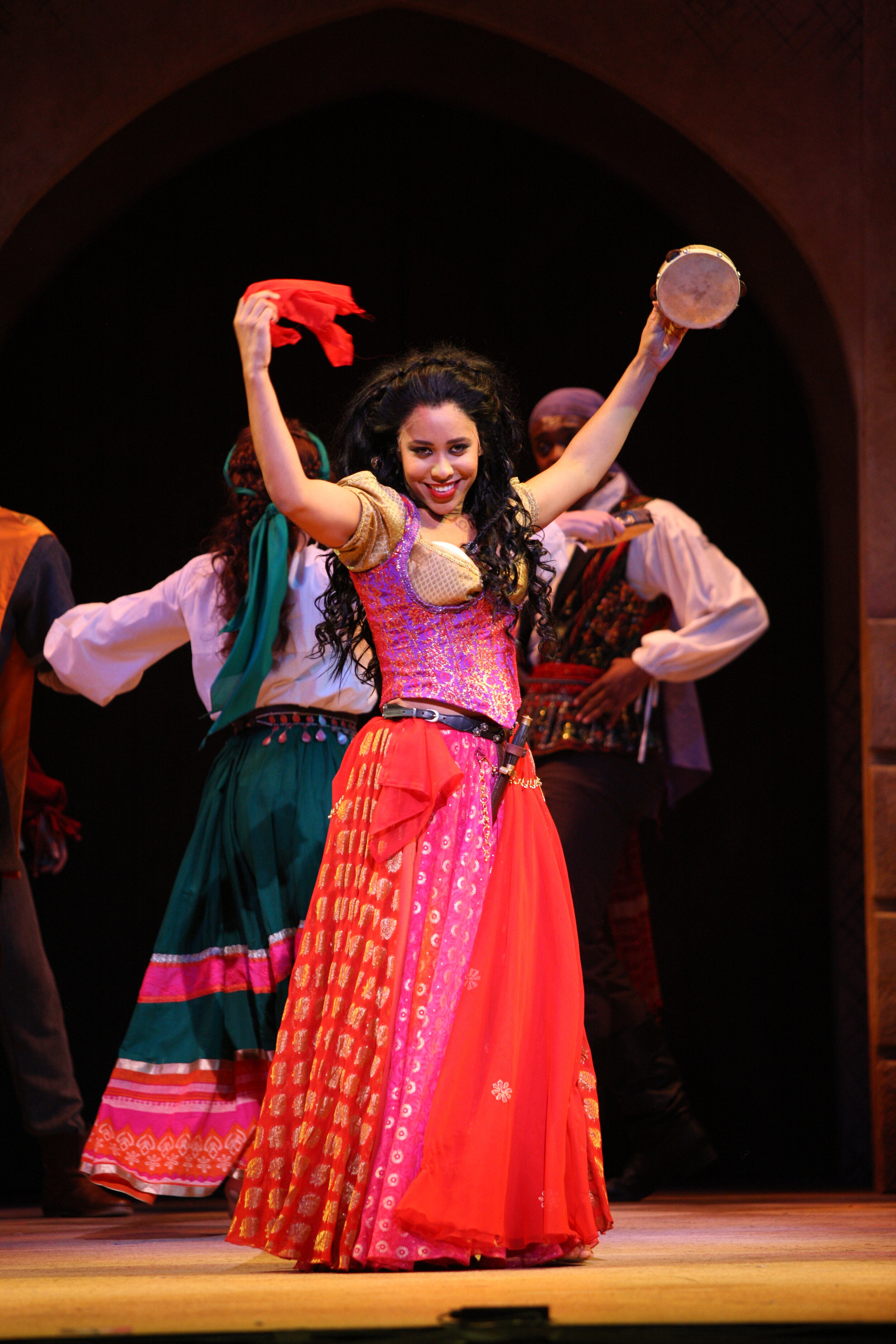 Esmerelda's Dance Skirt(Dyework)- The Hunchback of Notre Dame -Music Theatre Wichita 2017  Costume Design by George T Mitchell. All other designs by the summer staff of MTW. Photos Courtesy of Christopher Clark and Jerry Fritchman.