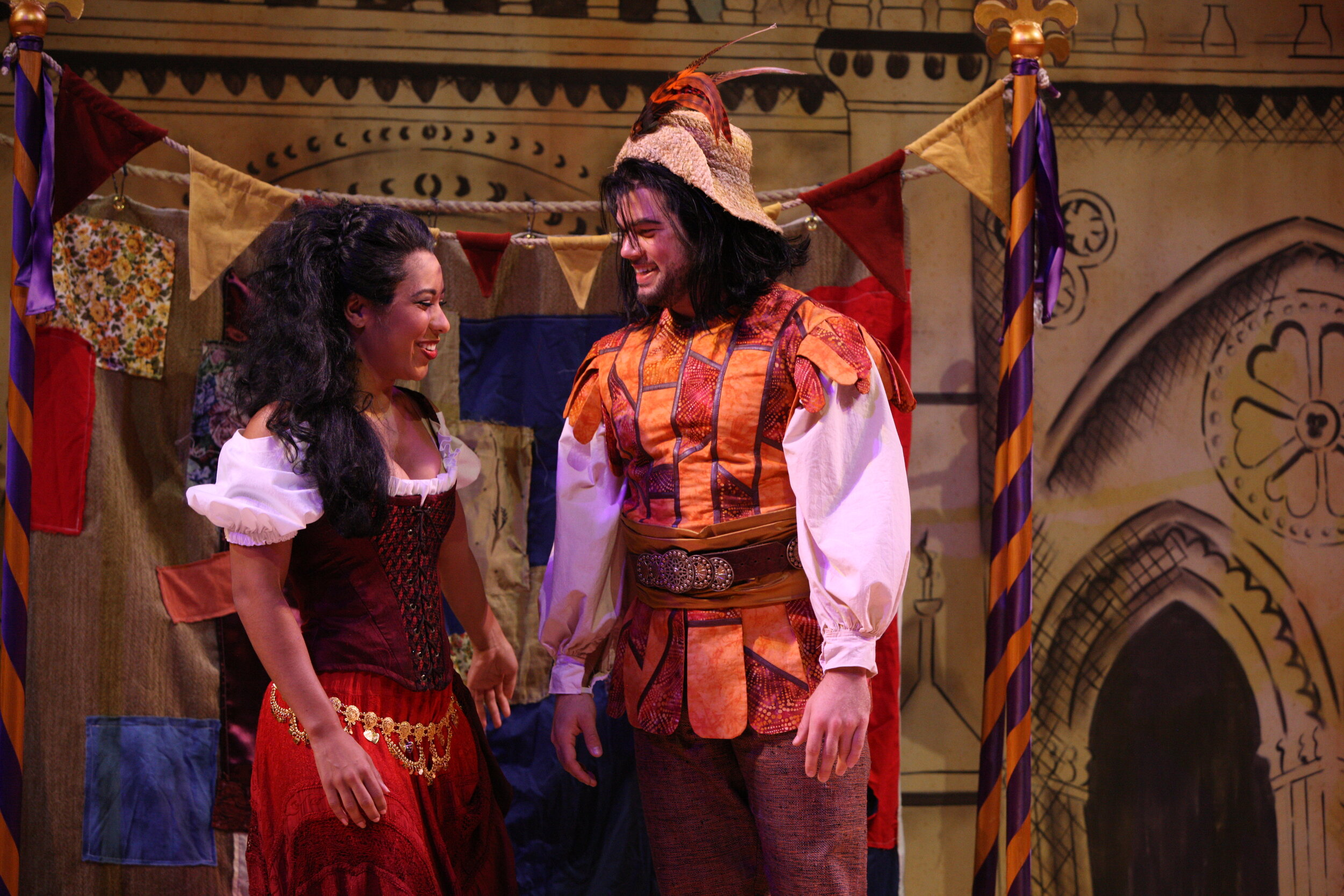 Esmerelda's Dance Skirt and Clopin's Doublet(Dyework)- The Hunchback of Notre Dame -Music Theatre Wichita 2017  Costume Design by George T Mitchell. All other designs by the summer staff of MTW. Photos Courtesy of Christopher Clark and Jerry Fritchman.