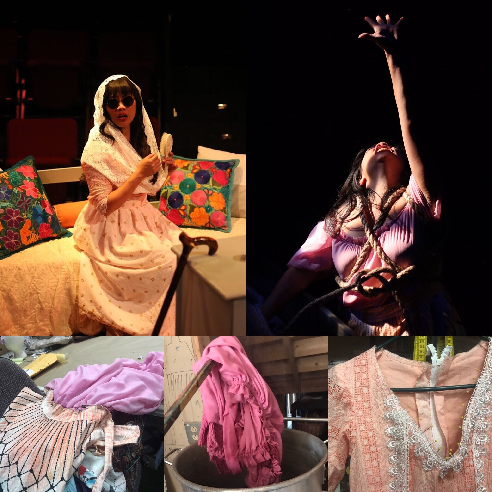 Claudia and Aurelia's Dresses(Dyework)- Guadelupe in the Guestroom -Creede Repertory Theatre 2018  Costume Design by Celia Kasberg. All other designs by the summer staff of CRT. Show Photos Courtesy of John Gary Brown.