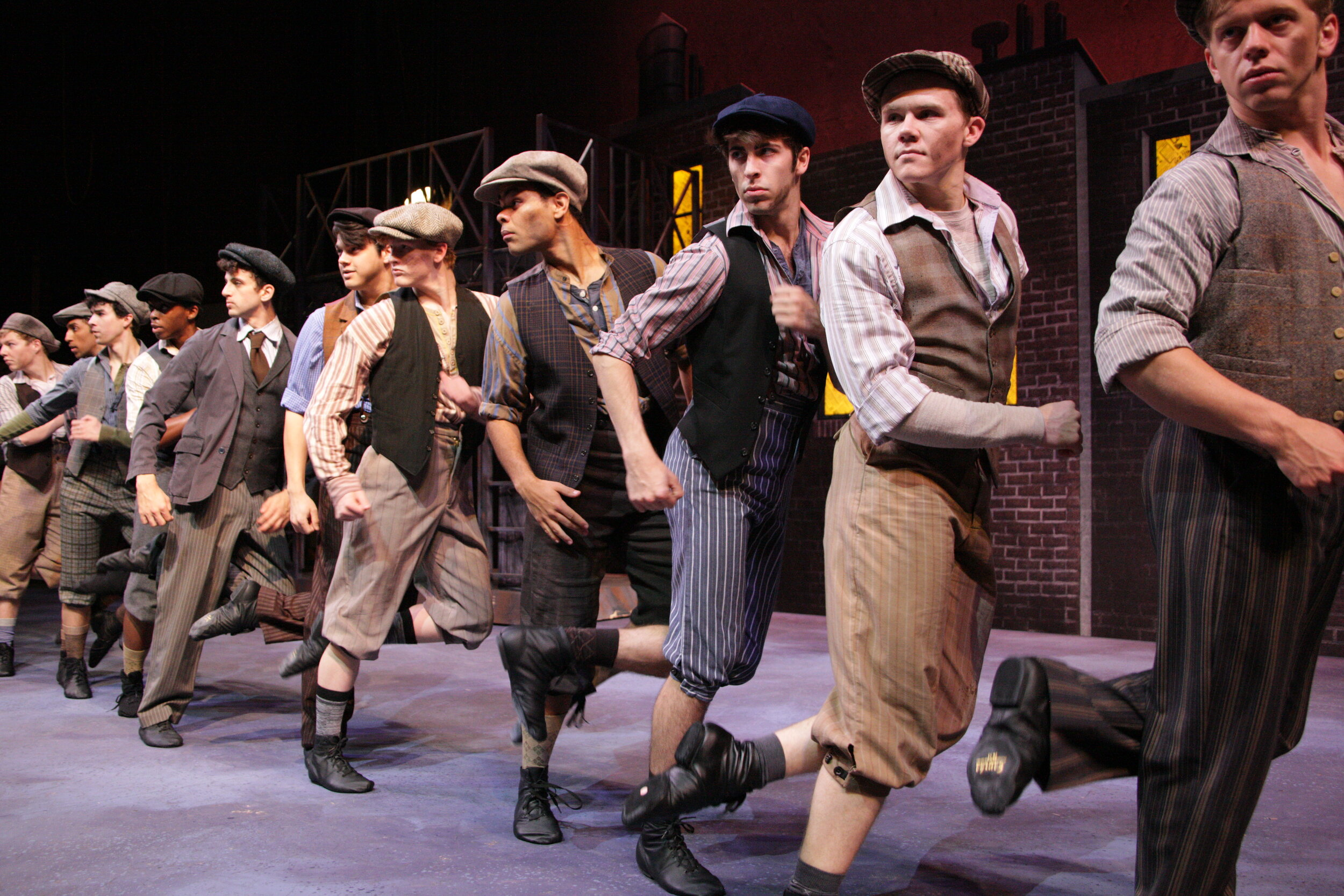 Distressed Newsies(Paint)- Newsies! -Music Theatre Wichita 2017  All designs by the summer staff of MTW. Photos Courtesy of Christopher Clark and Jerry Fritchman.