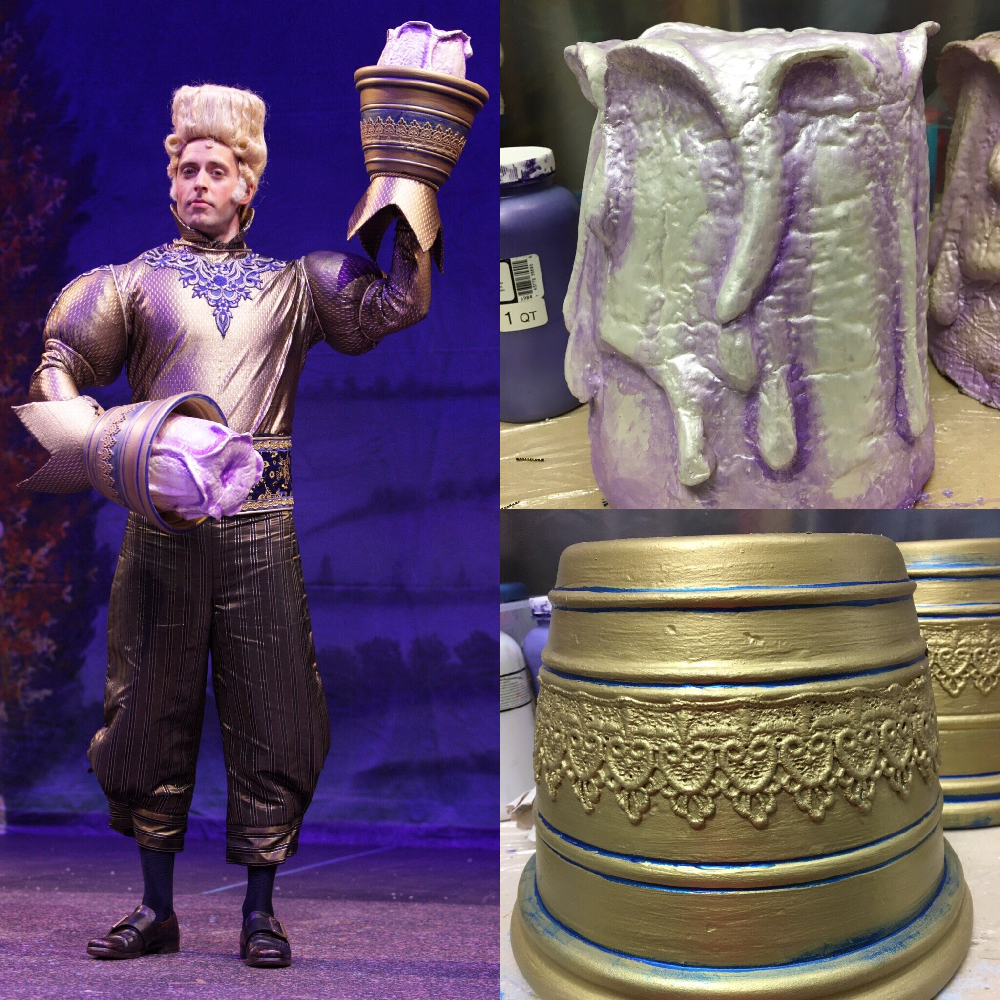 Lumiere's Hands(Paint)- Beauty and the Beast -Music Theatre Wichita 2016  Costume Design by Tiia Torchia Lager.All designs by the summer staff of MTW. Photos Courtesy of Christopher Clark and Jerry Fritchman.