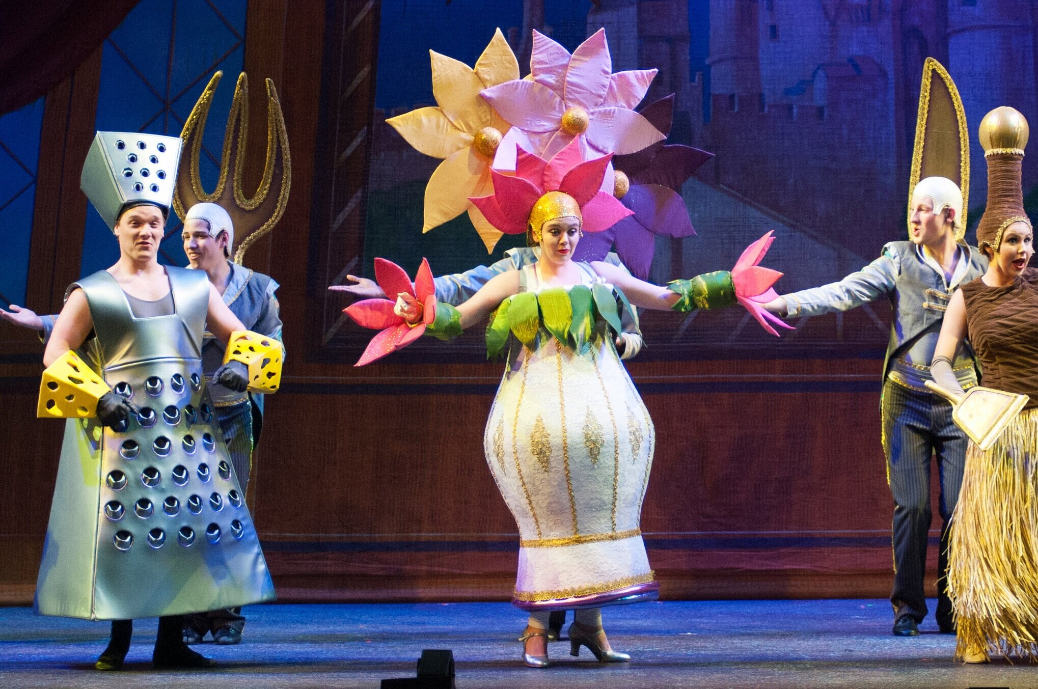 Cheese Grater and Flowers for Vase- Beauty and the Beast-  Music Theatre Wichita 2016  Costume Design by Tiia Torchia Lager. All other designs by the seasonal staff of MTW. Photos Courtesy of Jerry Fritchman and Christopher Clark.