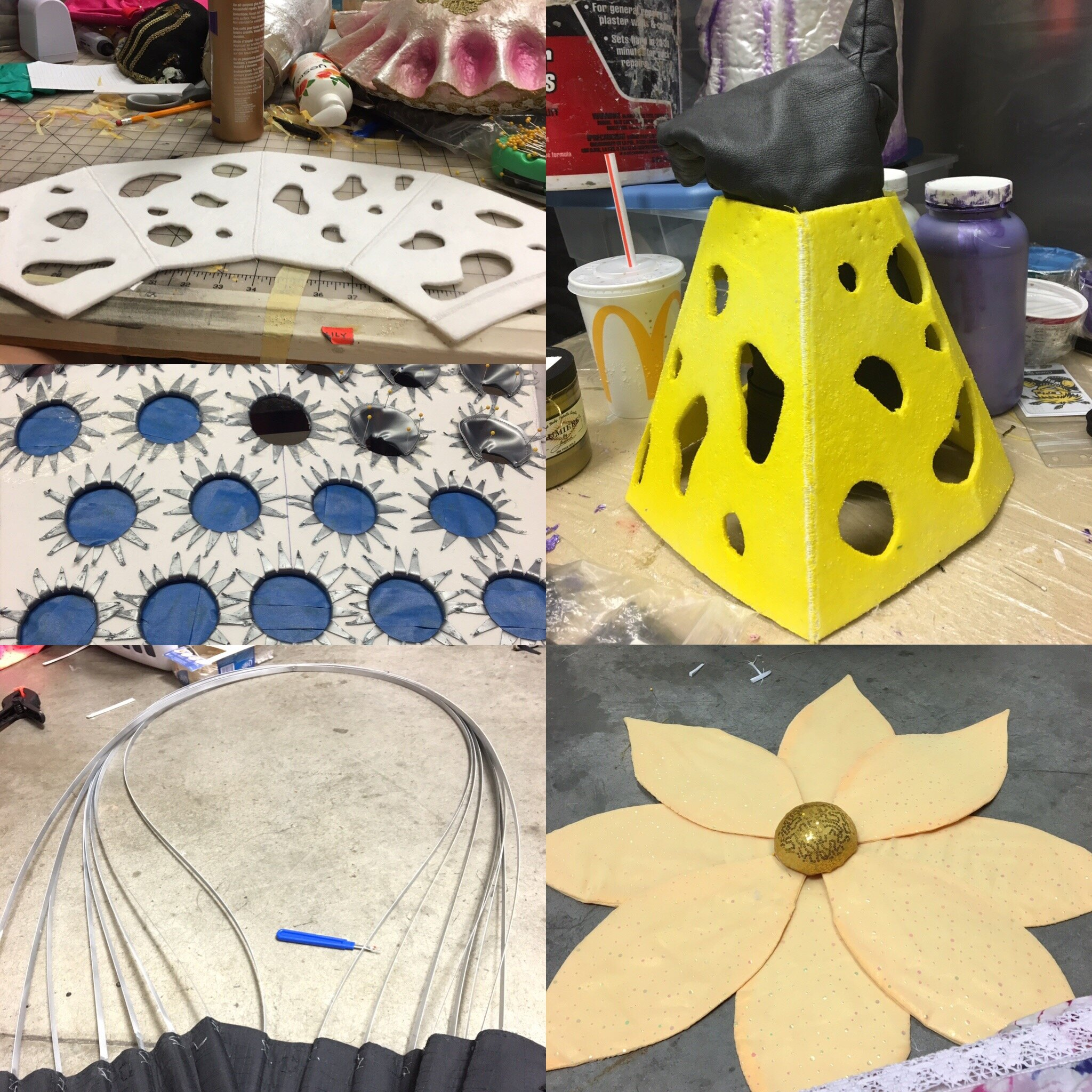 Cheese Grater, Whisk, and Flowers for Vase- Beauty and the Beast-  Music Theatre Wichita 2016  Costume Design by Tiia Torchia Lager.