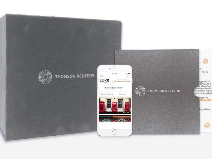 Thomson Reuters - LUXE created a first of its kind package of print plus mobile guides selected carefully for the recipients. For Christmas, an invitation to download a mobile box set of 10 guides via a customised online solution was created by LUXE. These mobile guides are updated monthly for 12 months offering extended experience and value. Linking the destinations in mobile to print was a bespoke box custom created for 10 print guides. This one of a kind gift was highly successful and offered ongoing value.