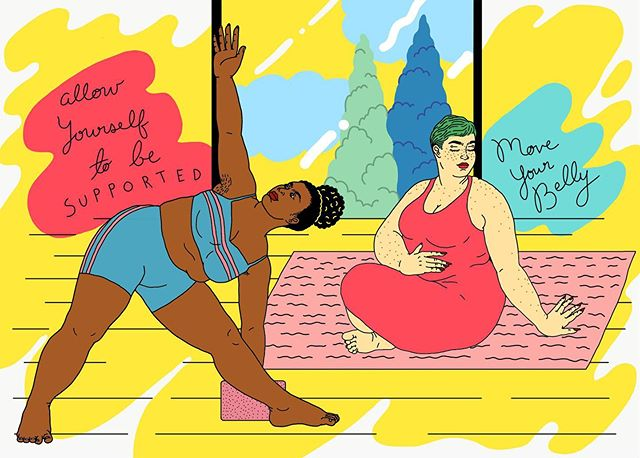 I illustrated some soft babes doing yoga for @bust_magazine ❤️ I am so in awe of this life - that I had the opportunity to work with a legendary feminist publication to draw in my own style on a topic that's near and dear to my heart. ✨ When my body started changing a few years ago, I was afraid of exercising. I have used exercise obsessively to control my weight in the past, and I knew that getting back into yoga and going to the gym with more curves would be super triggering for me - being so present in myself, feelings my rolls and folds bend where there used to be none. When I got back in the gym after gaining weight, it was a punishment. It has taken me years of self-work to get to the place I am now with my body and my relationship to exercise. I've been picking up yoga again slowly at @liberationyoga and I've been using some of the tips that @veronikellymars lays out in this article. I'm practicing exercise from a place of joy and celebration of what my body can do 🙏🏻 you can read the article here: https://bit.ly/2P0Bm5l