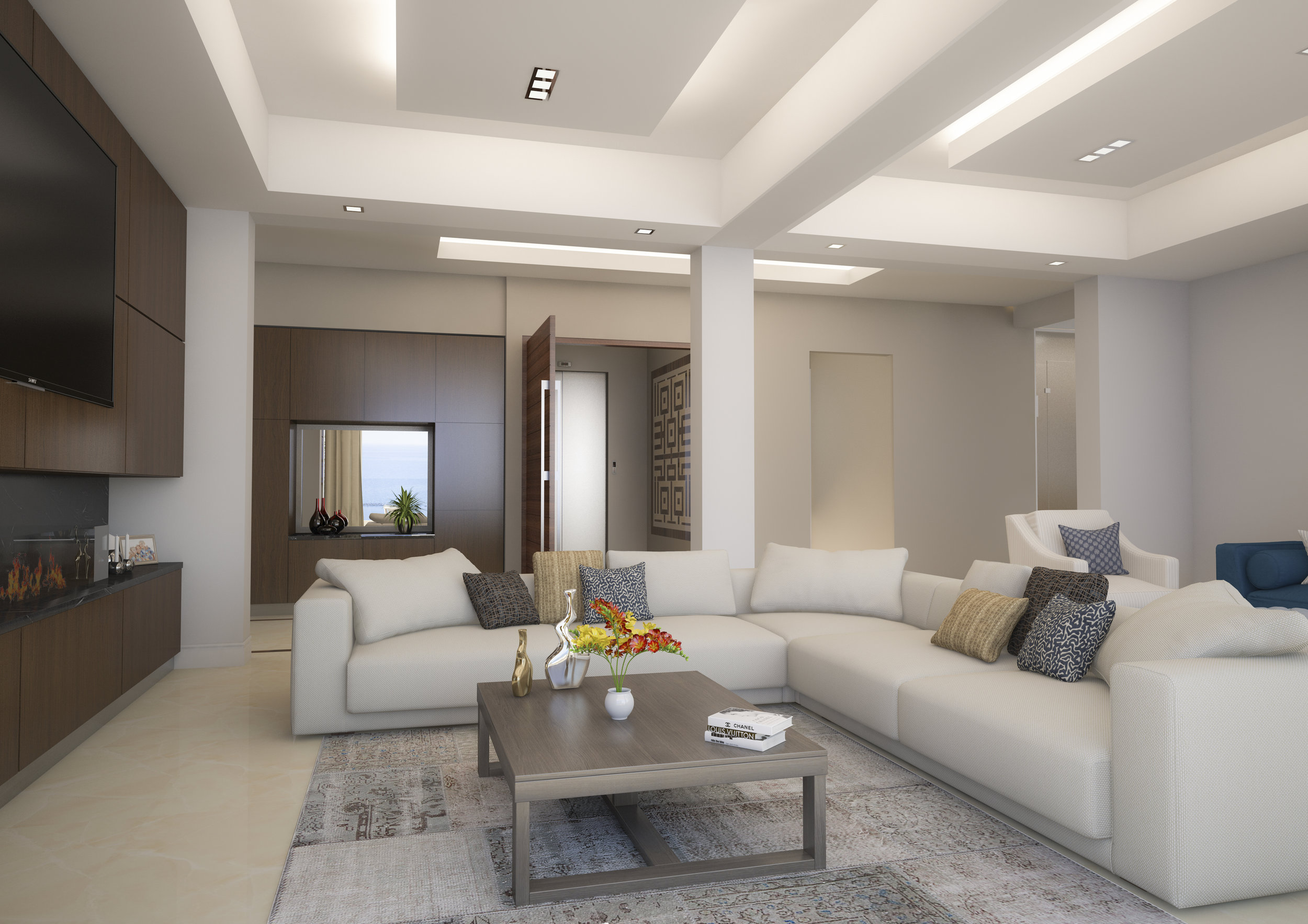 Seating area Render for an apartment in Limassol, Cyprus