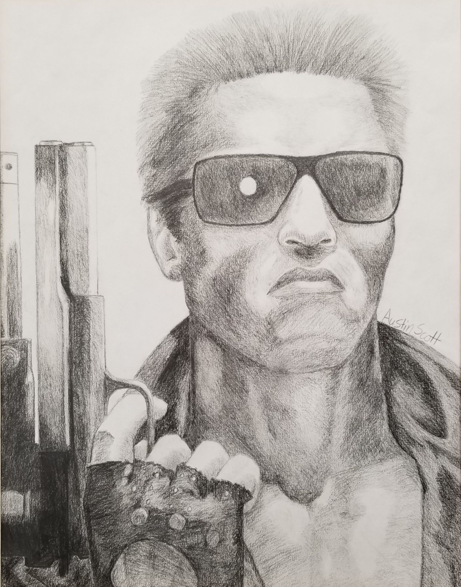 A fan of Terminator films, Austin truly captured the intensity of a photo with great accuracy and style, stroke by stroke in graphite. His attention to every little detail makes this such a success. Austin takes private lessons and looks forward to writing and illustrating his stories.