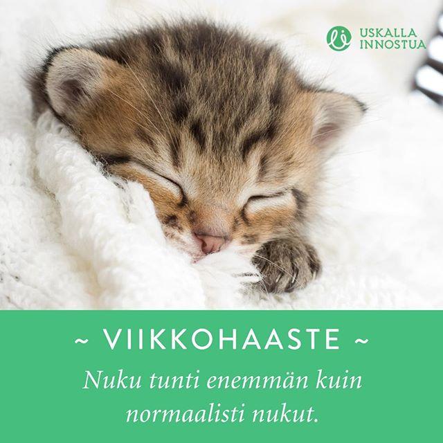 """Tämän viikon pieni positiivinen haaste on hyvin yksinkertainen: Nuku tunti enemmän kuin normaalisti nukut! #UIhaaste⠀ ⠀ Kommentoi alle: """"Mukana!"""" jos olet mukana haasteessa ja haasta myös ystäväsi mukaan😍😍 ⠀ ⠀ ⠀ #viikkohaaste #positiivinenhaaste #nuku #nukkuminen #uni #unentärkeys #unenmerkitys #uskallainnostua"""
