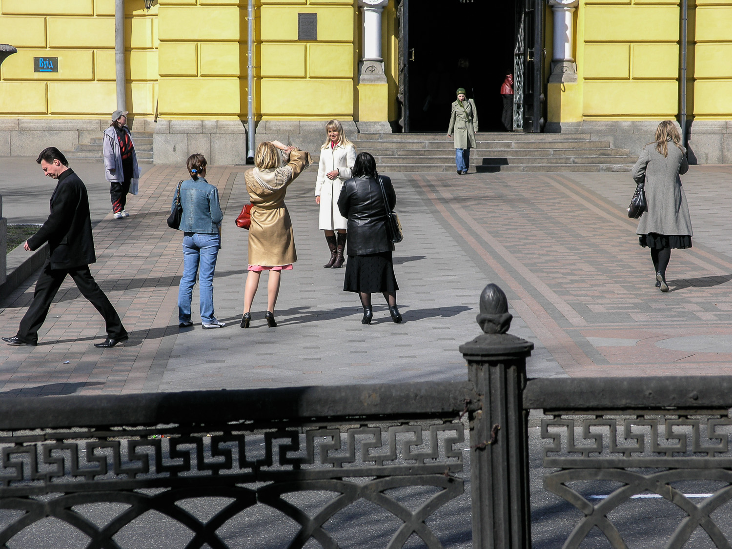 A street scene in front of St Volodymyr's Cathedral of the Ukrainian Orthodox Church (Kiev Patriarchy) in Kiev.