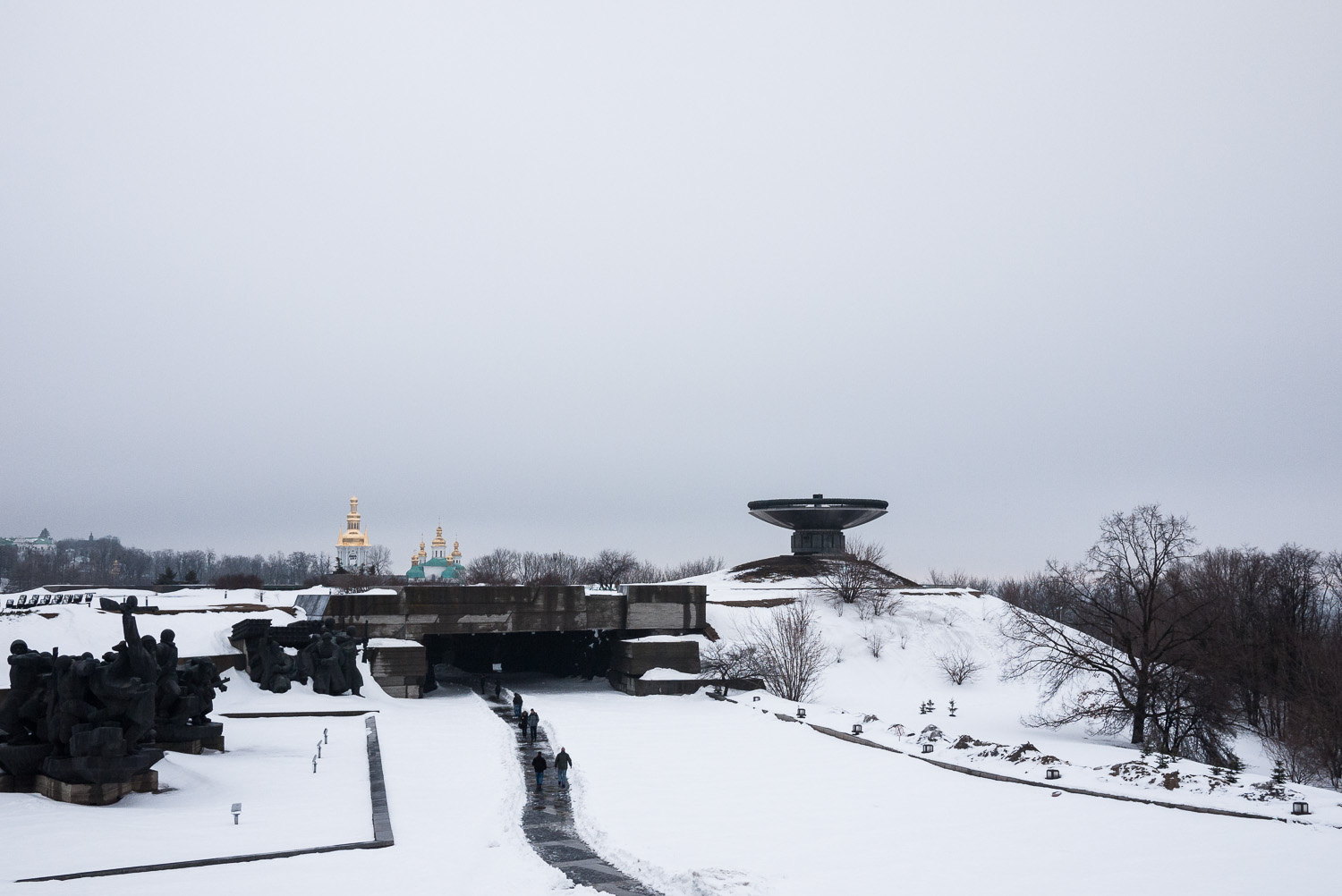 The Museum of the Great Patriotic War in Kiev, with churches of the Pechersk Lavra monastery complex in the distance.