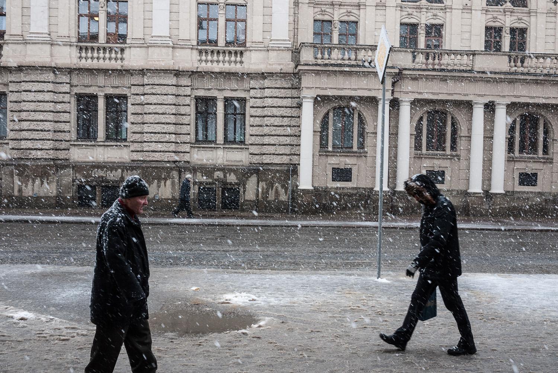 A street scene near the Opera House in Lviv, west Ukraine.