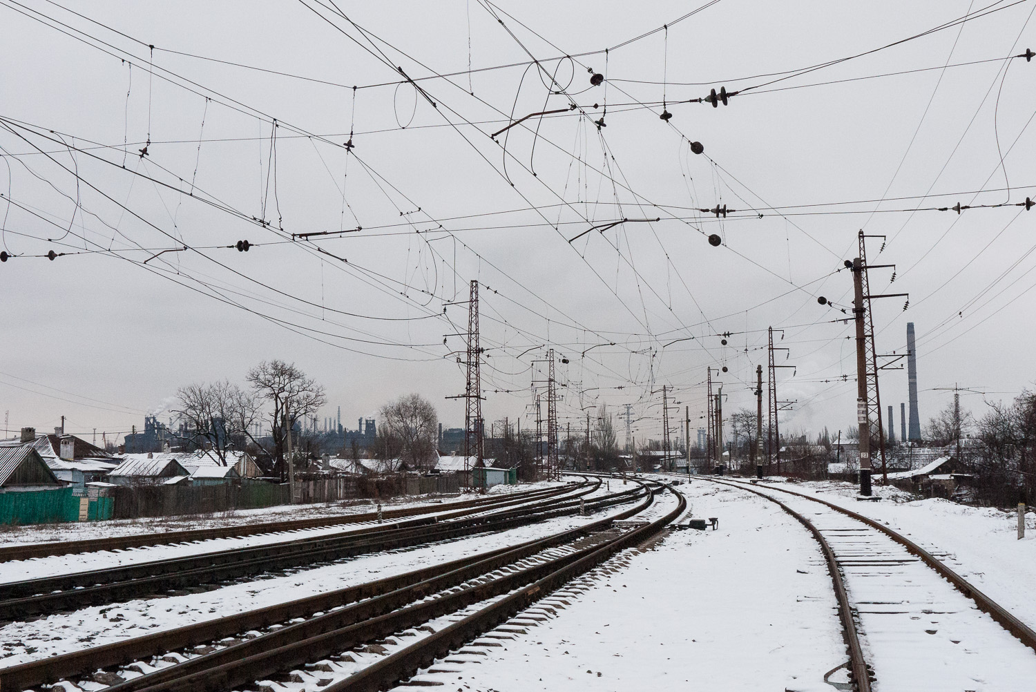 Railway lines in the city of Mariupol.