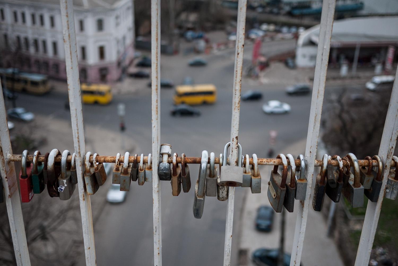 Padlocks left by lovers on a bridge in Odessa.