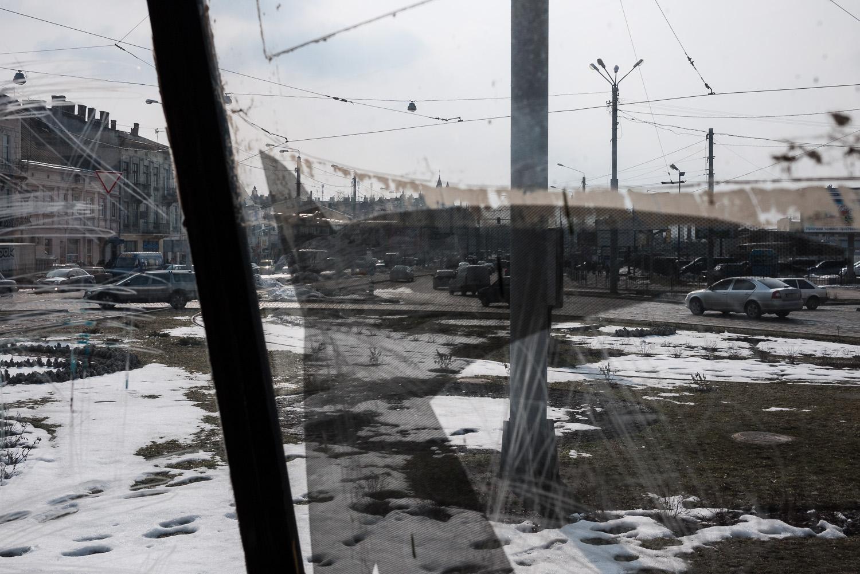 A view through a tram window in Lviv, west Ukraine.