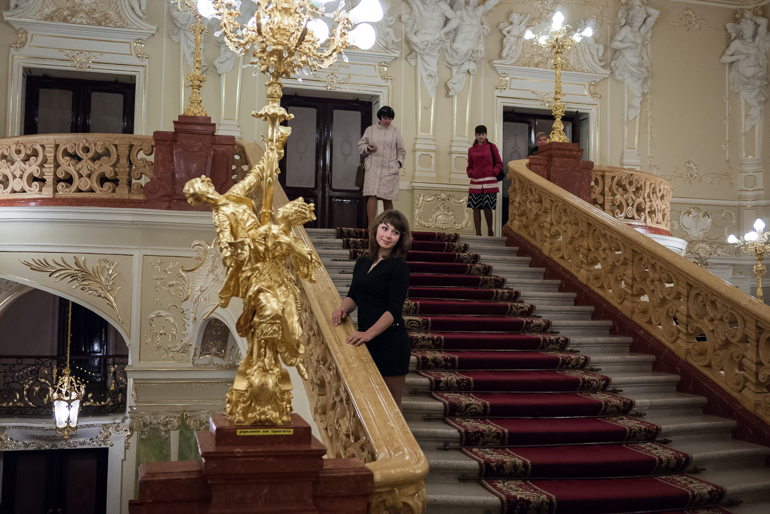A young woman pictured after a performance in Kiev's opera house.