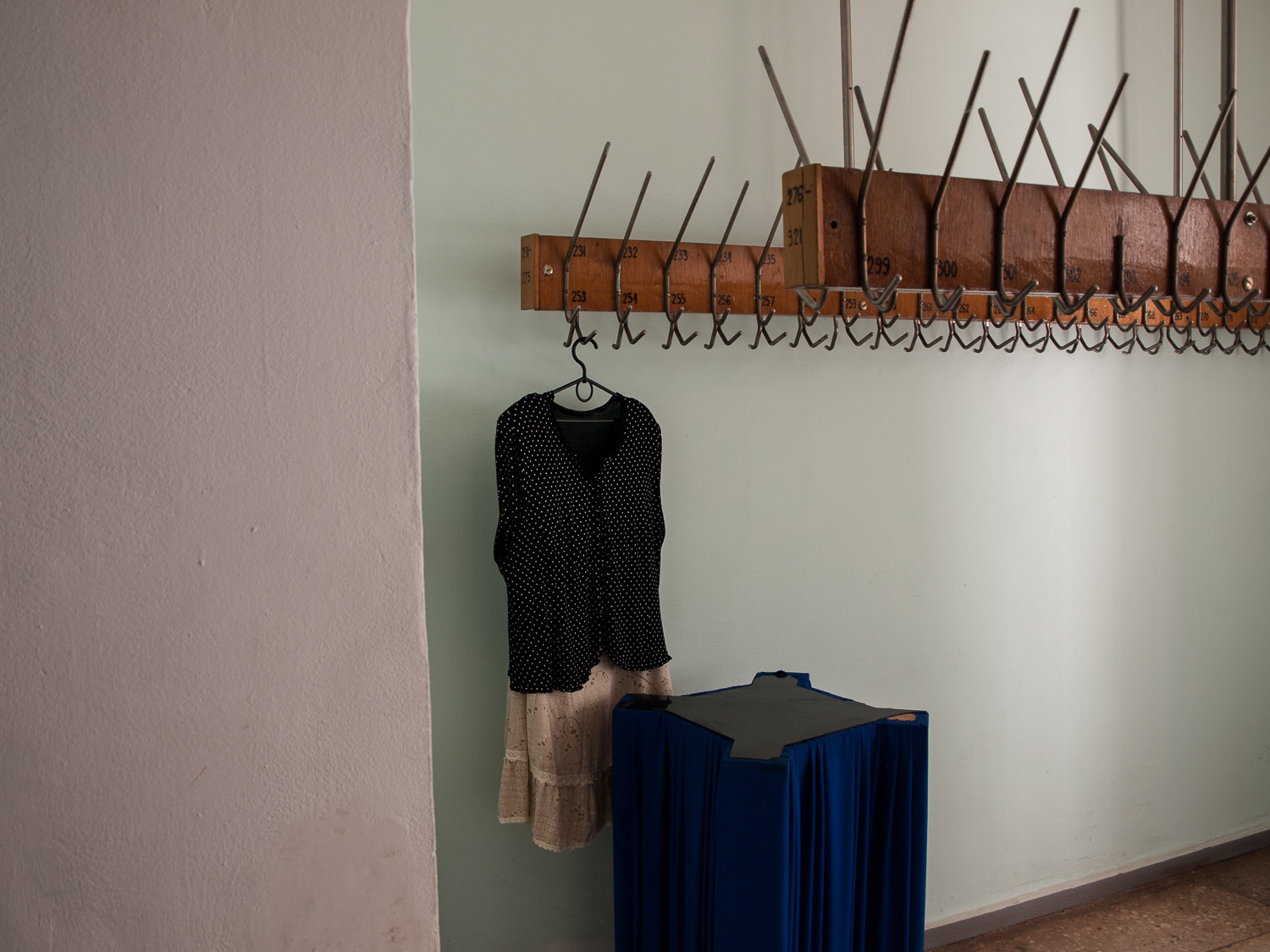 A dress hangs in a theatre in the city ofKryvyi Rih.