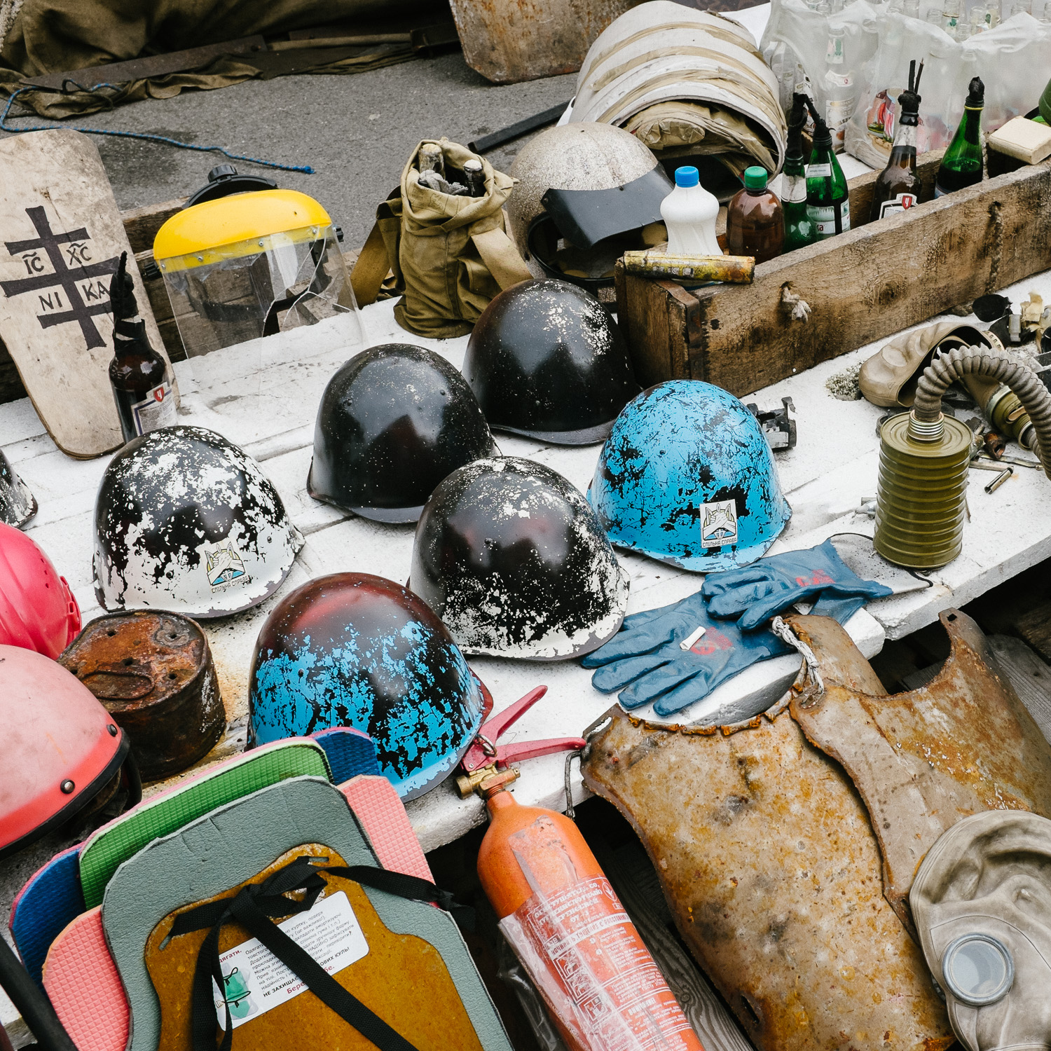 A display of helmets, shields and other items on Khreshchatyk, the main street running through Kiev's Independence Square, and a site of protest since the beginning of the Euromaidan uprisings in November 2013.