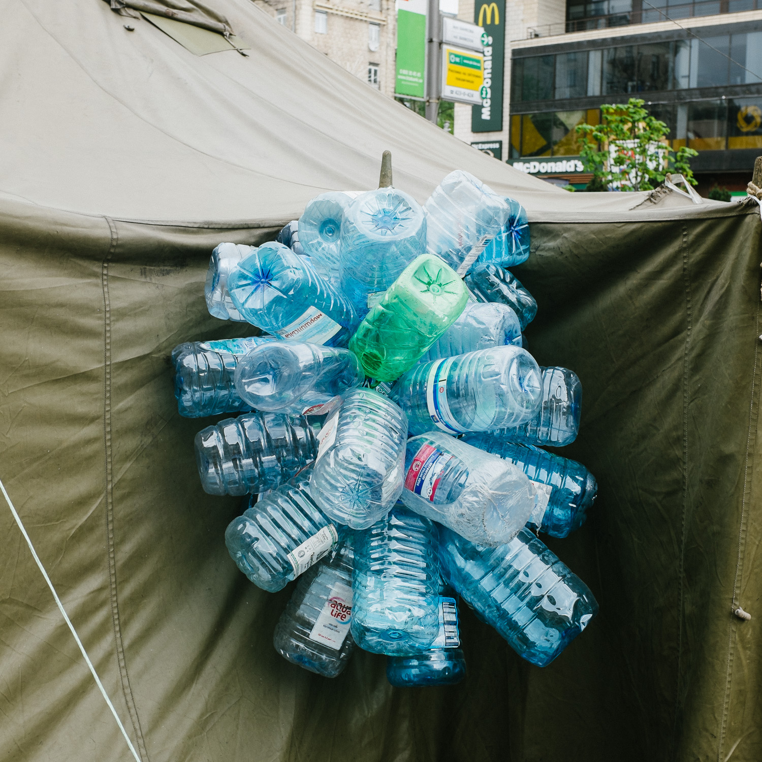 Empty water bottles outside a tent pitched on Khreshchatyk street, off Kiev's Independence Square, April 2014.