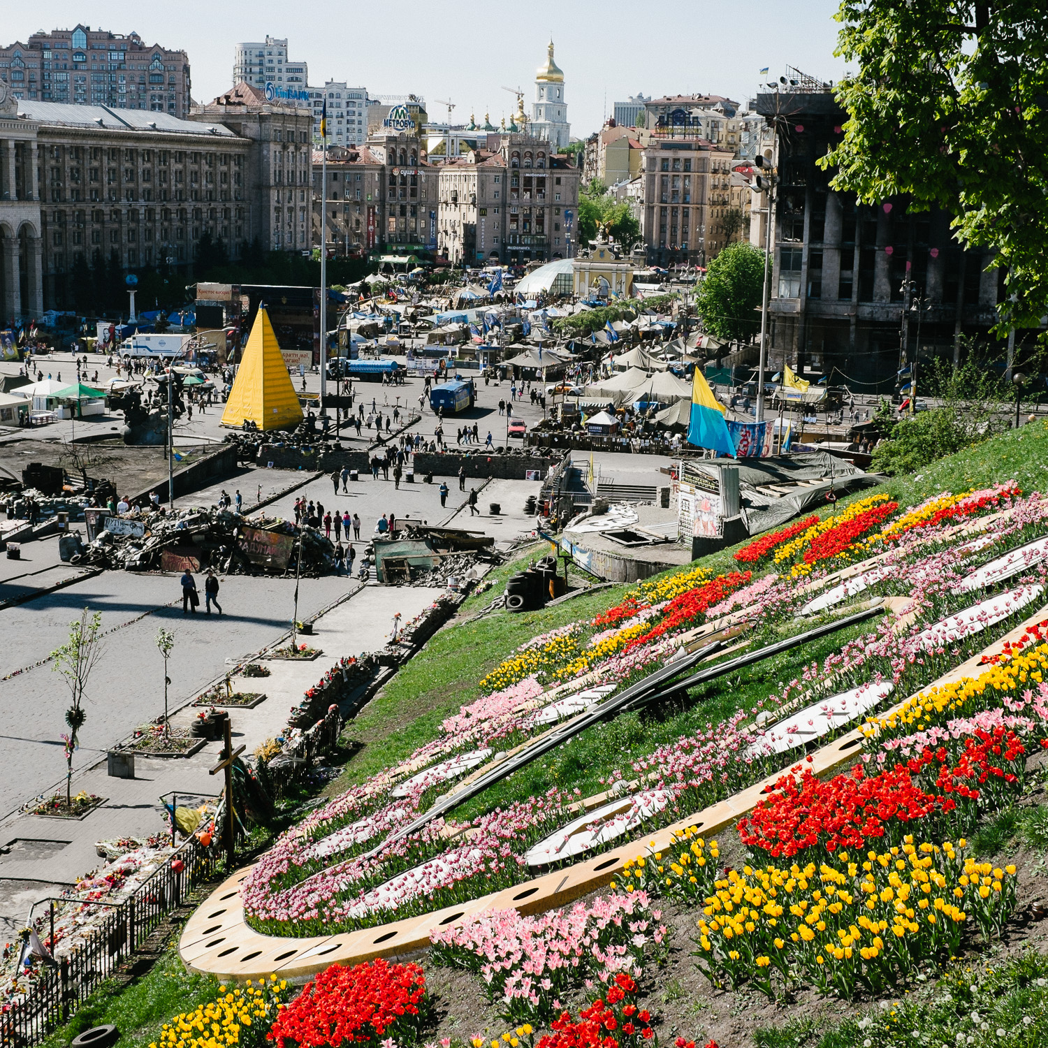 A view over Independence Square, Kiev, April 2014.