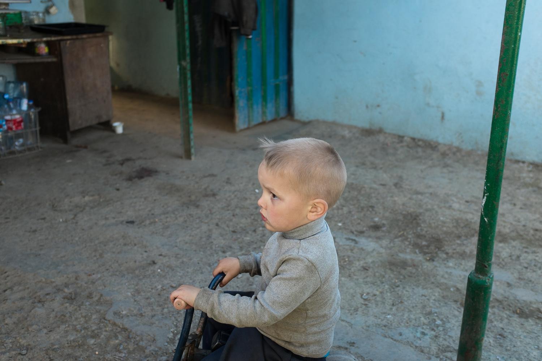 A boy pictured in the village of Stara Nekrasivka.