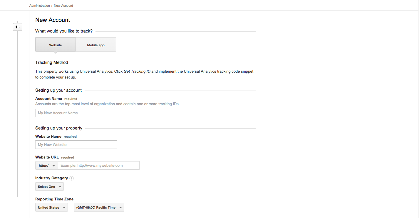 This is what you will see when you add a new account in Google Analytics.
