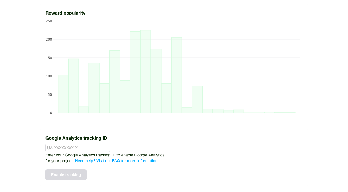 Your Google Analytics tracking ID is entered on your creator Dashboard under the Reward Popularity chart.