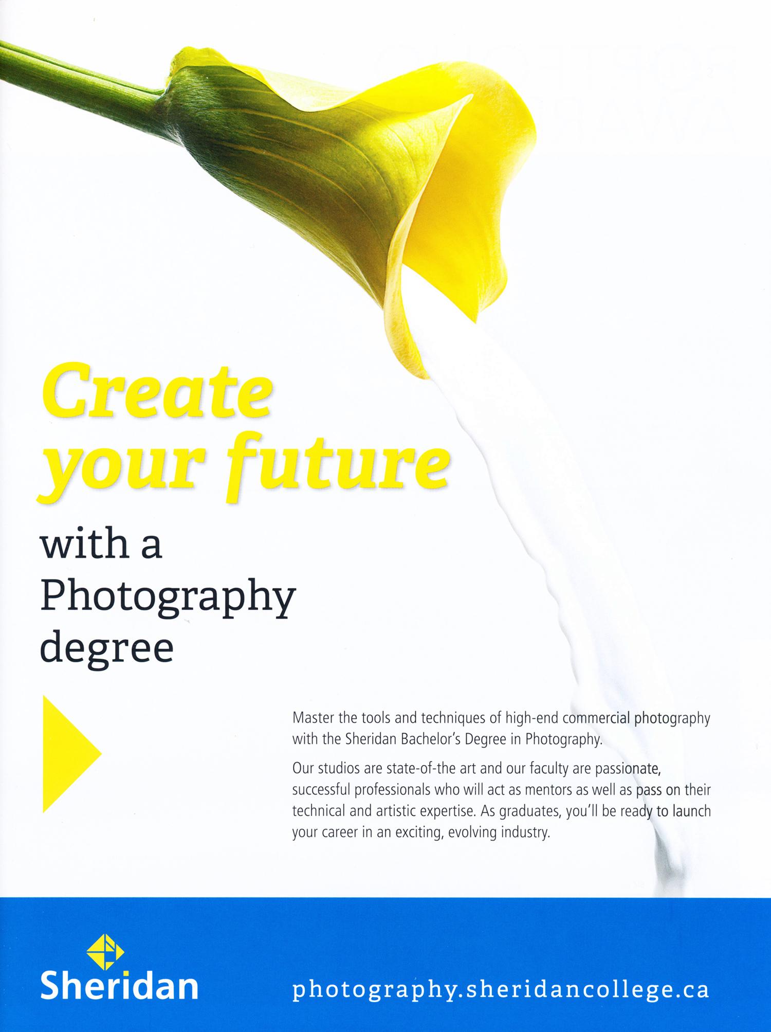 Ad for the Photography Program at Sheridan College / Published in Photo life & Photo ed