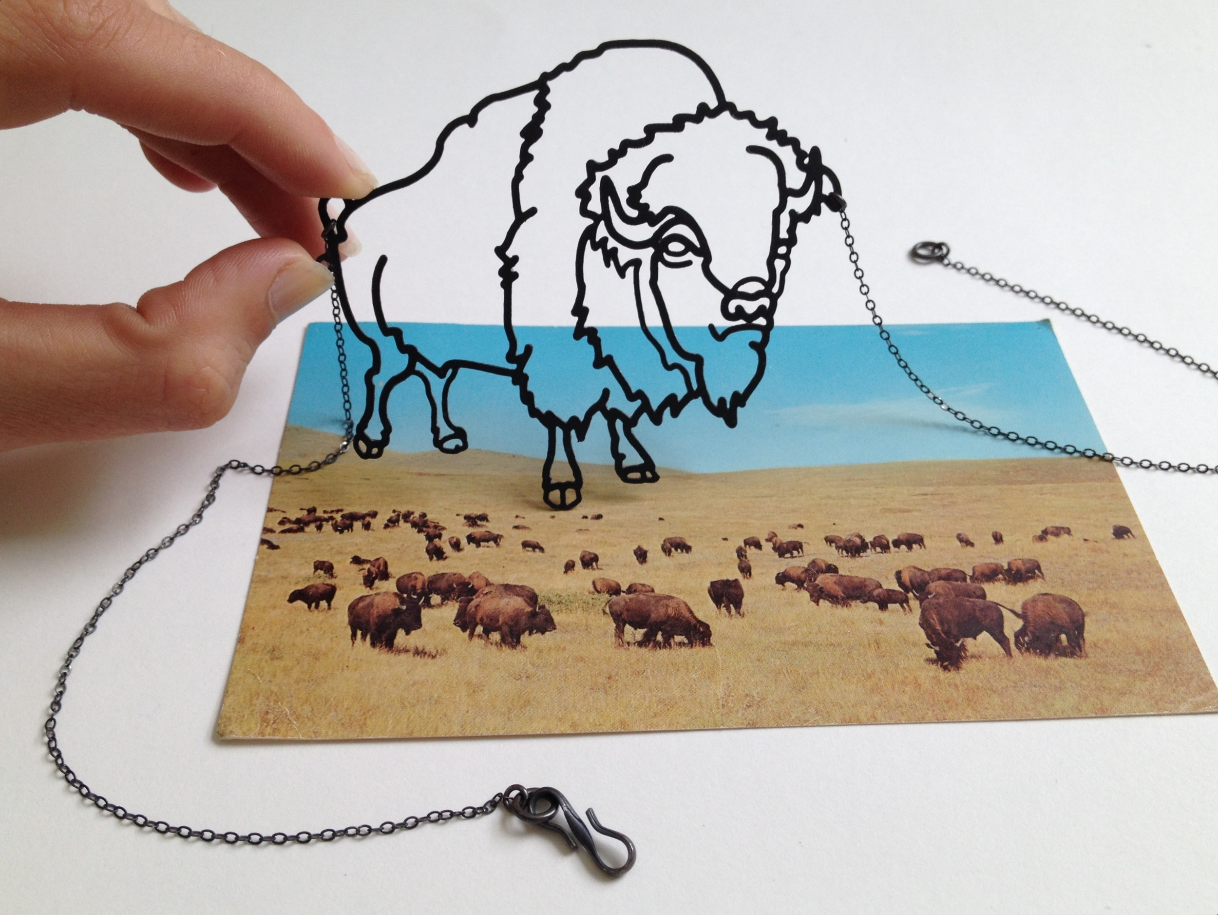 Blackened Steel Bison Necklace