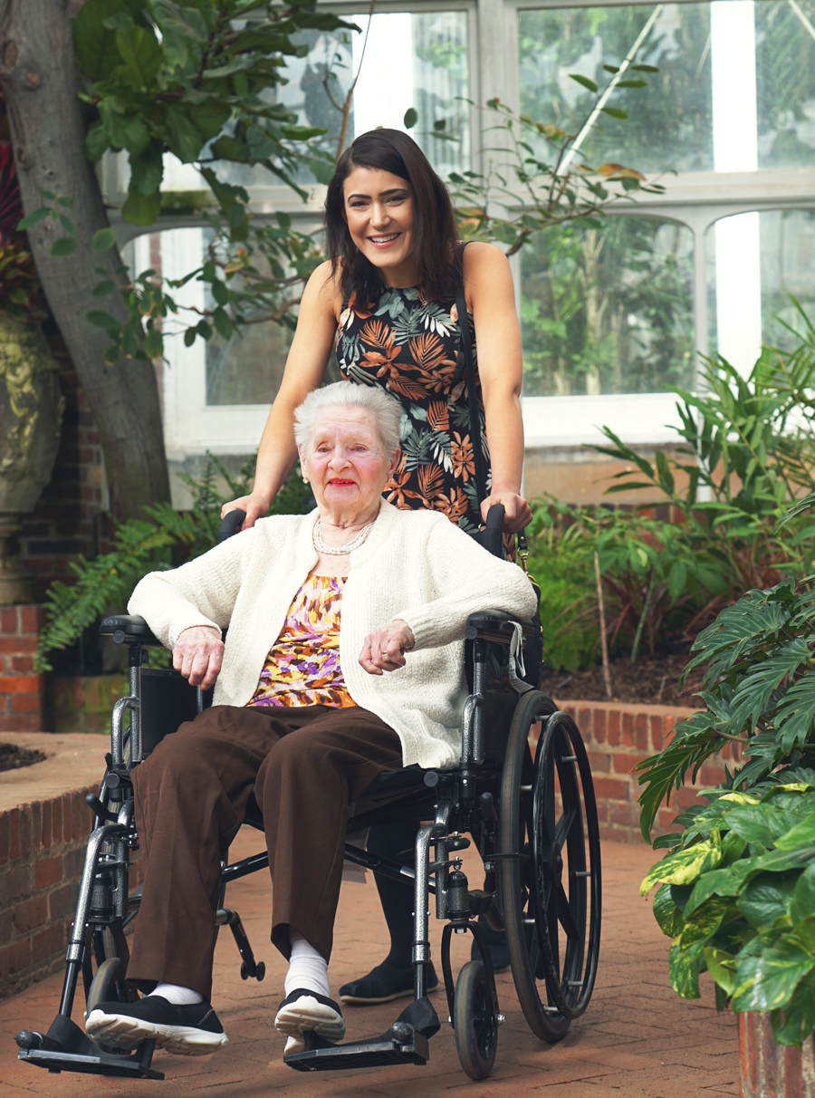 A Silver Lining client and her caregiver take an afternoon walk through Pittsburgh's Phipps Botanical Garden