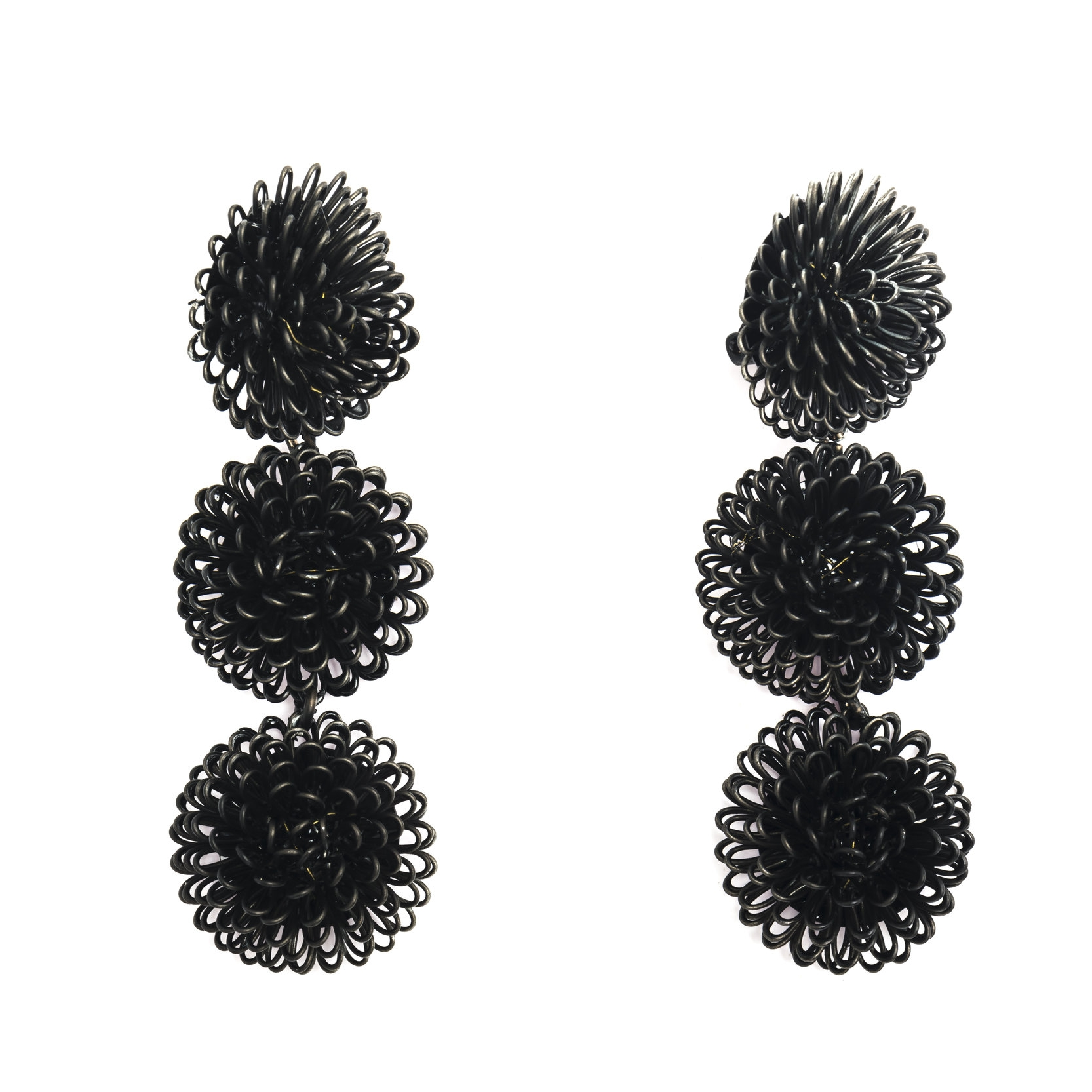 25 Black Pom Pon Earrings  F2017.jpg
