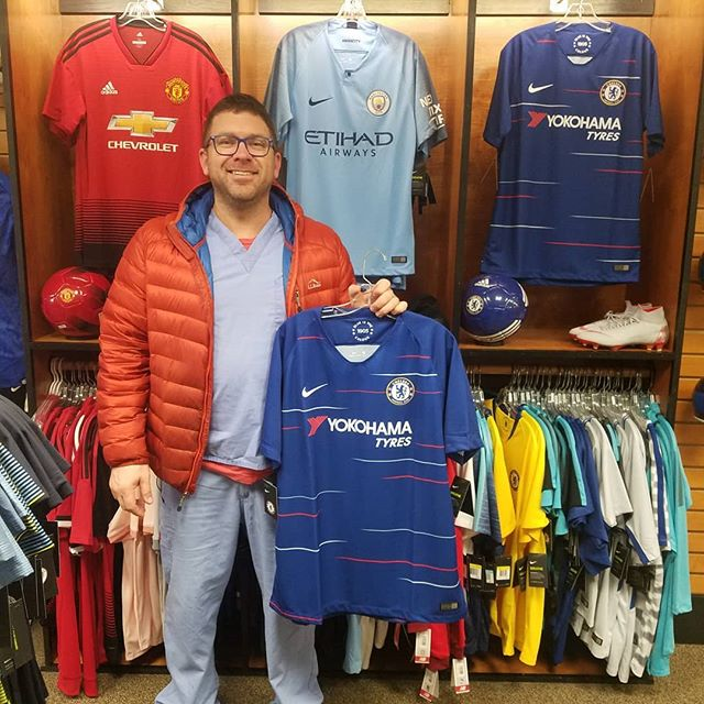 Congratulations, Matt!  Matt was the winner of our first ever Soccer City Jersey Raffle! He entered our contest, his name was picked, and he got his choice of a brand, new jersey, and he took home a 2018/19 Chelsea home jersey!  Interested in playing? Its $10 to enter, minimum of 5 participants, maximum of 10. We draw at the end of the week, and if your name is picked, you get a jersey of your choice! Visit us or call today to enter! We can ship it to you, too!