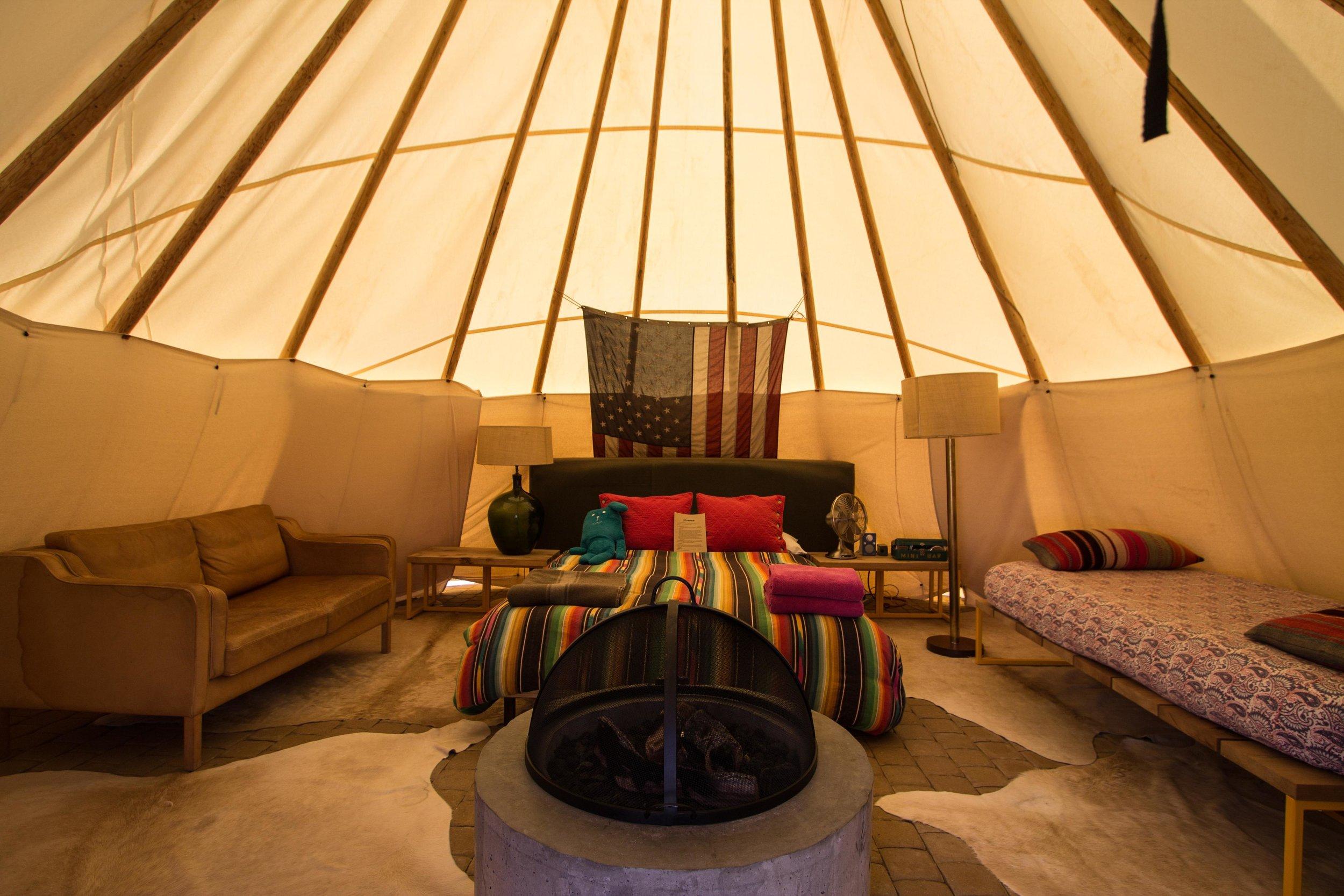 Interior of teepee rental, El Cosmico.