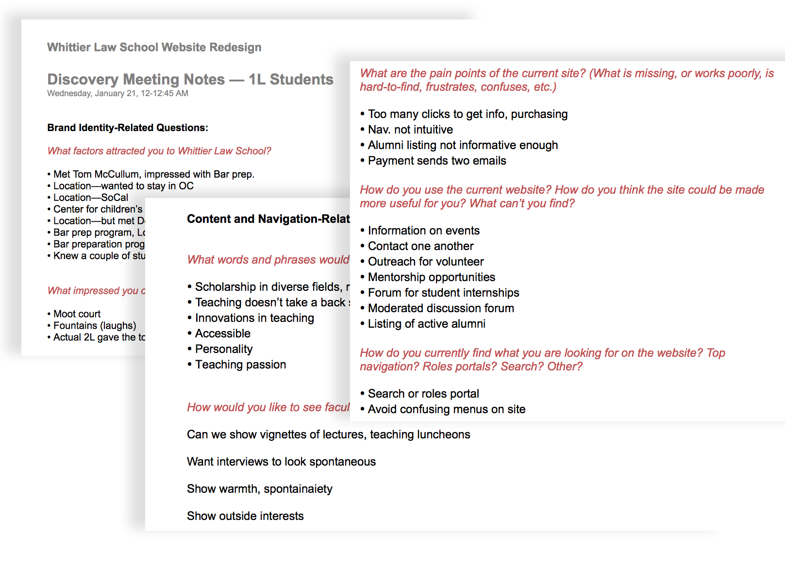Sample from questions posed to prospective and current students, alumni, administration and faculty