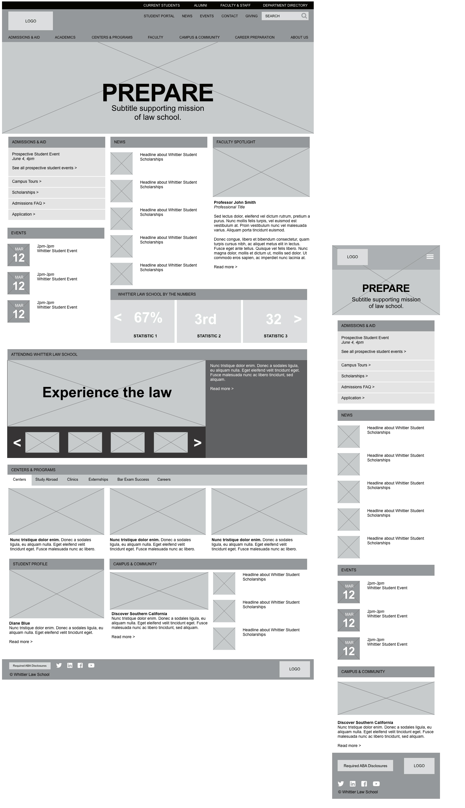 Homepage wireframe for desktop and mobile